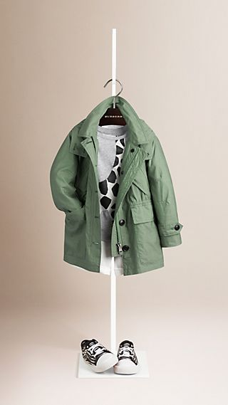 Cotton and Silk Blend Parka Jacket