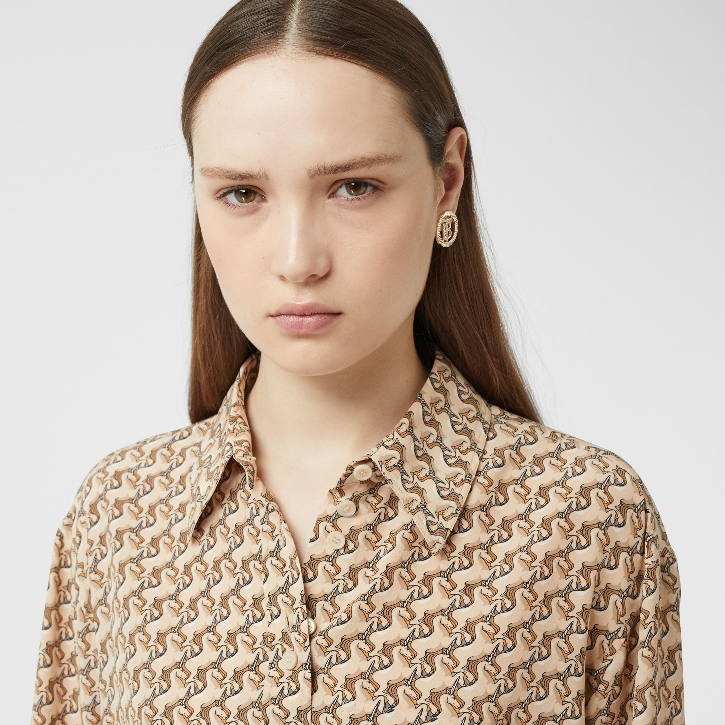 Unicorn Print Silk Crepe De Chine Shirt in Ecru - Women | Burberry - 2