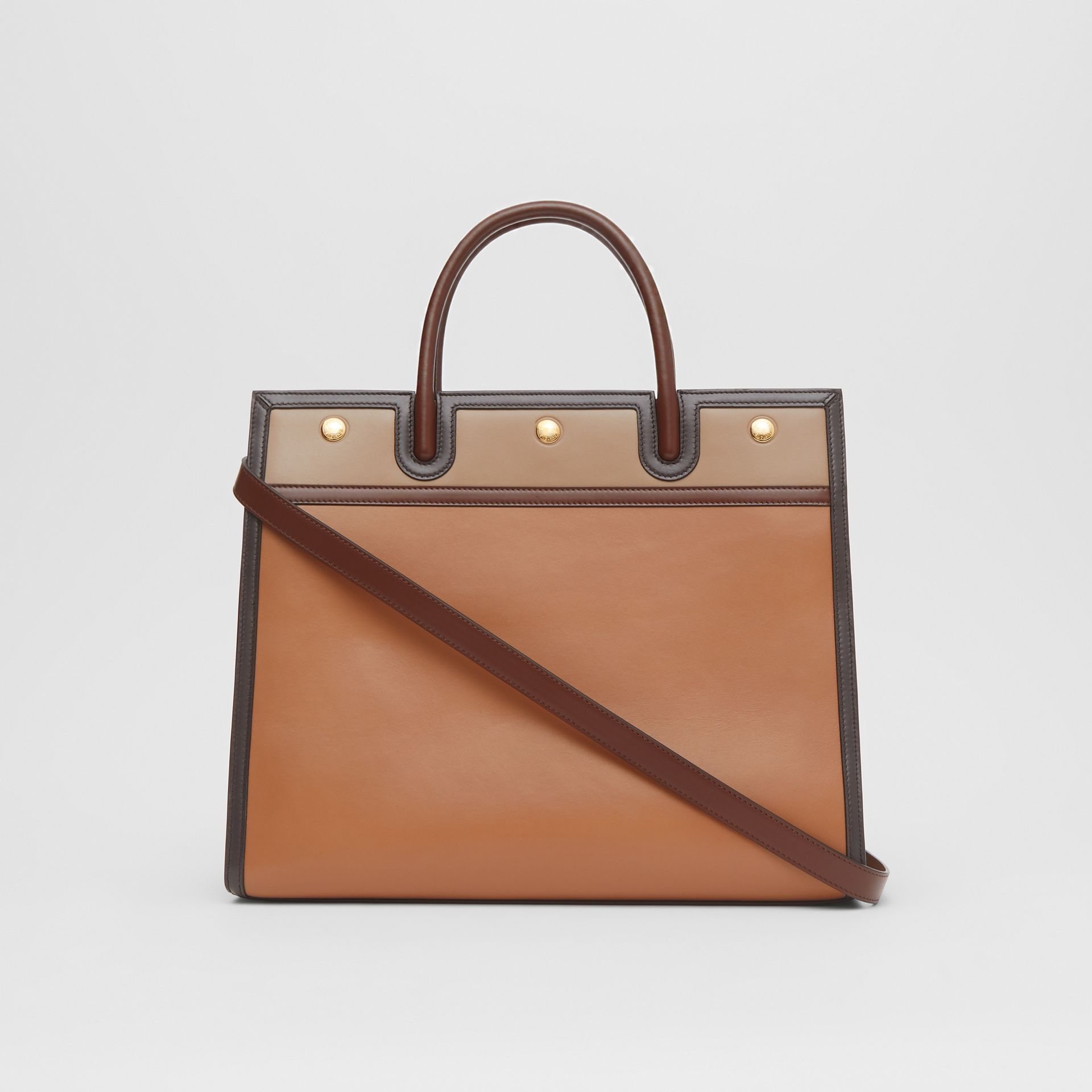 Medium Colour Block Leather Two-handle Title Bag in Soft Fawn - Women | Burberry United States - gallery image 7