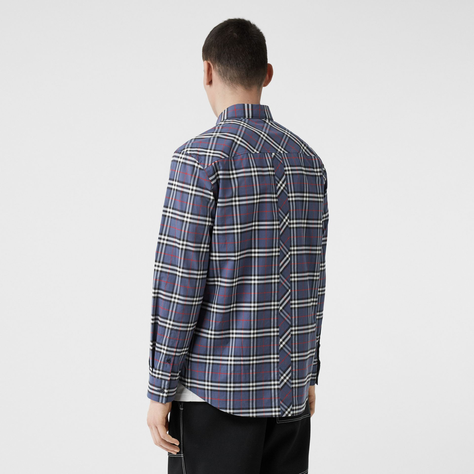 Small Scale Check Stretch Cotton Shirt in Carbon Blue - Men | Burberry - gallery image 2