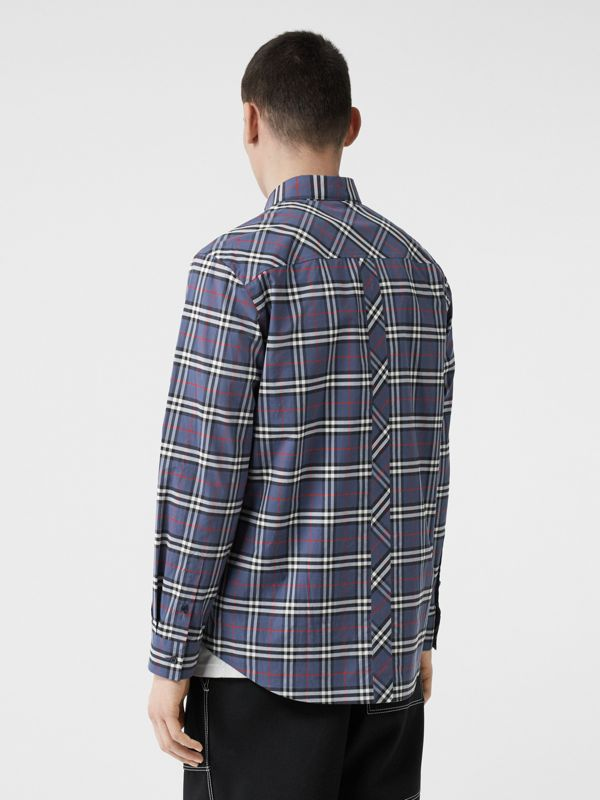 Small Scale Check Stretch Cotton Shirt in Carbon Blue - Men | Burberry - cell image 2