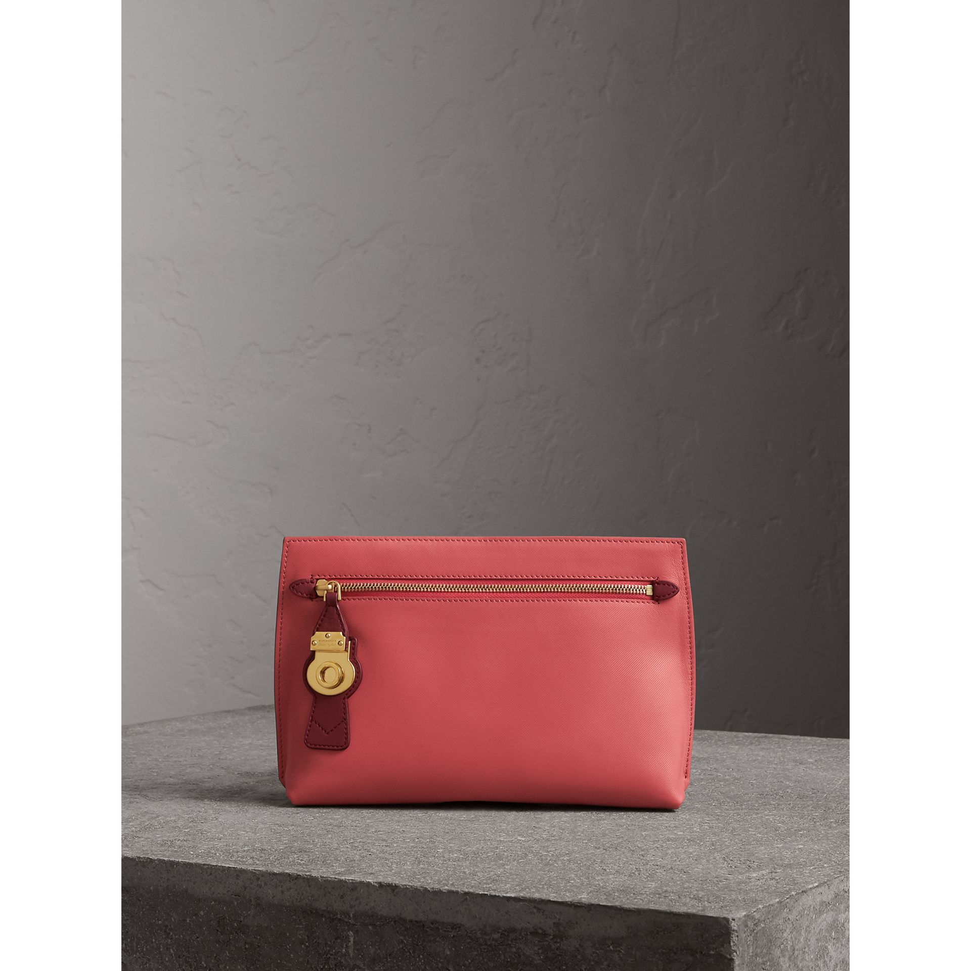 Two-tone Trench Leather Wristlet Pouch in Blossom Pink/antique Red - Women | Burberry United Kingdom - gallery image 1