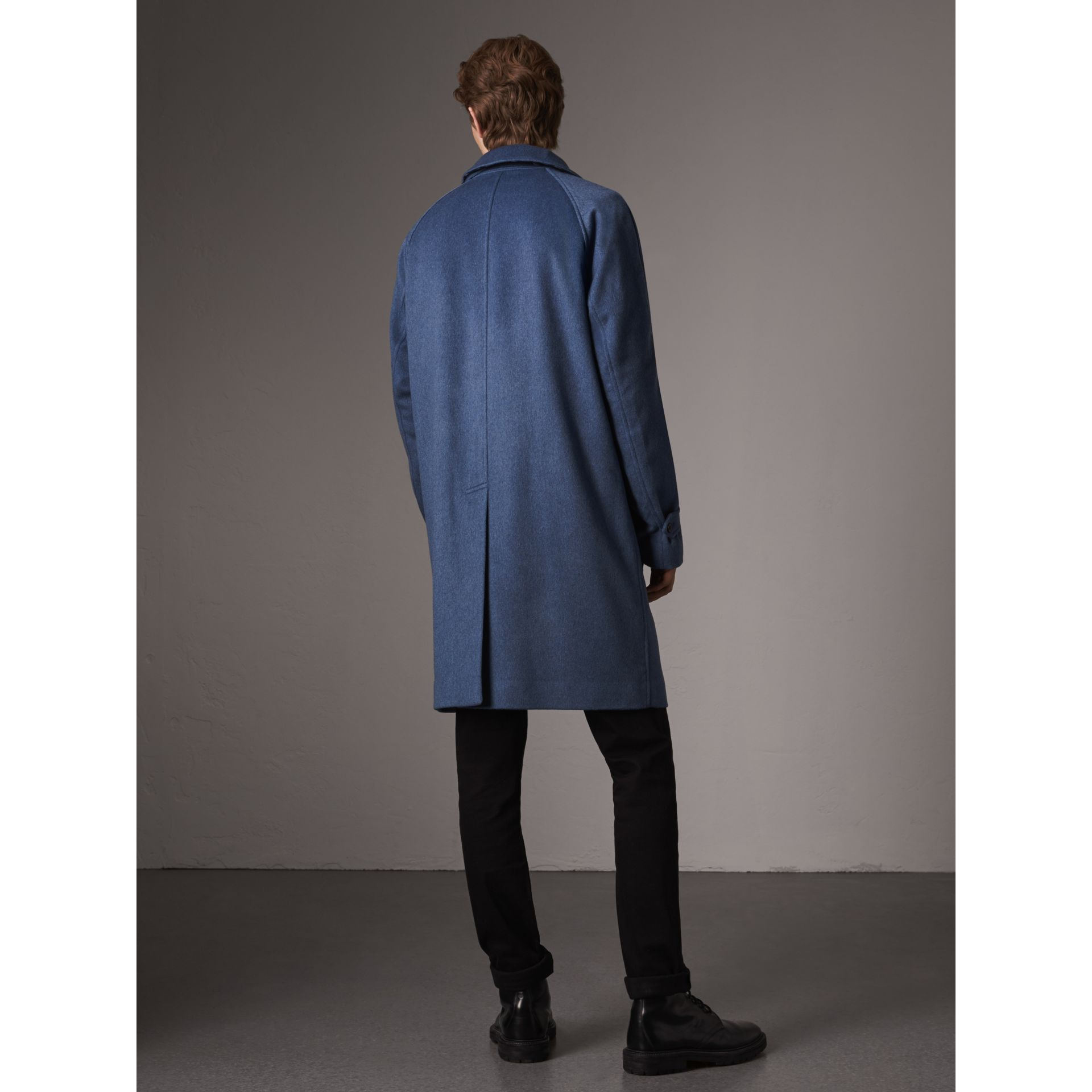 Cashmere Car Coat in Steel Blue Melange - Men | Burberry Singapore - gallery image 3
