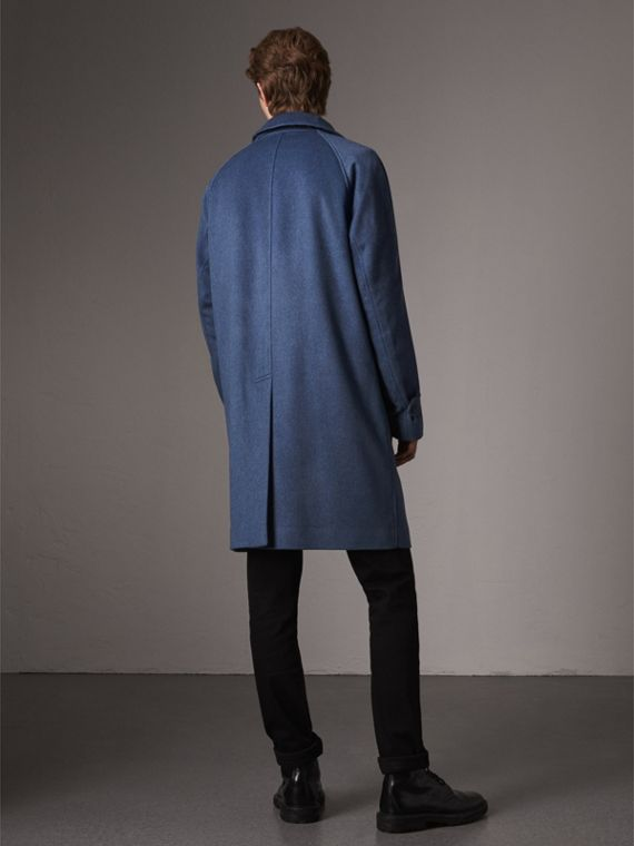 Cashmere Car Coat in Steel Blue Melange - Men | Burberry Singapore - cell image 2