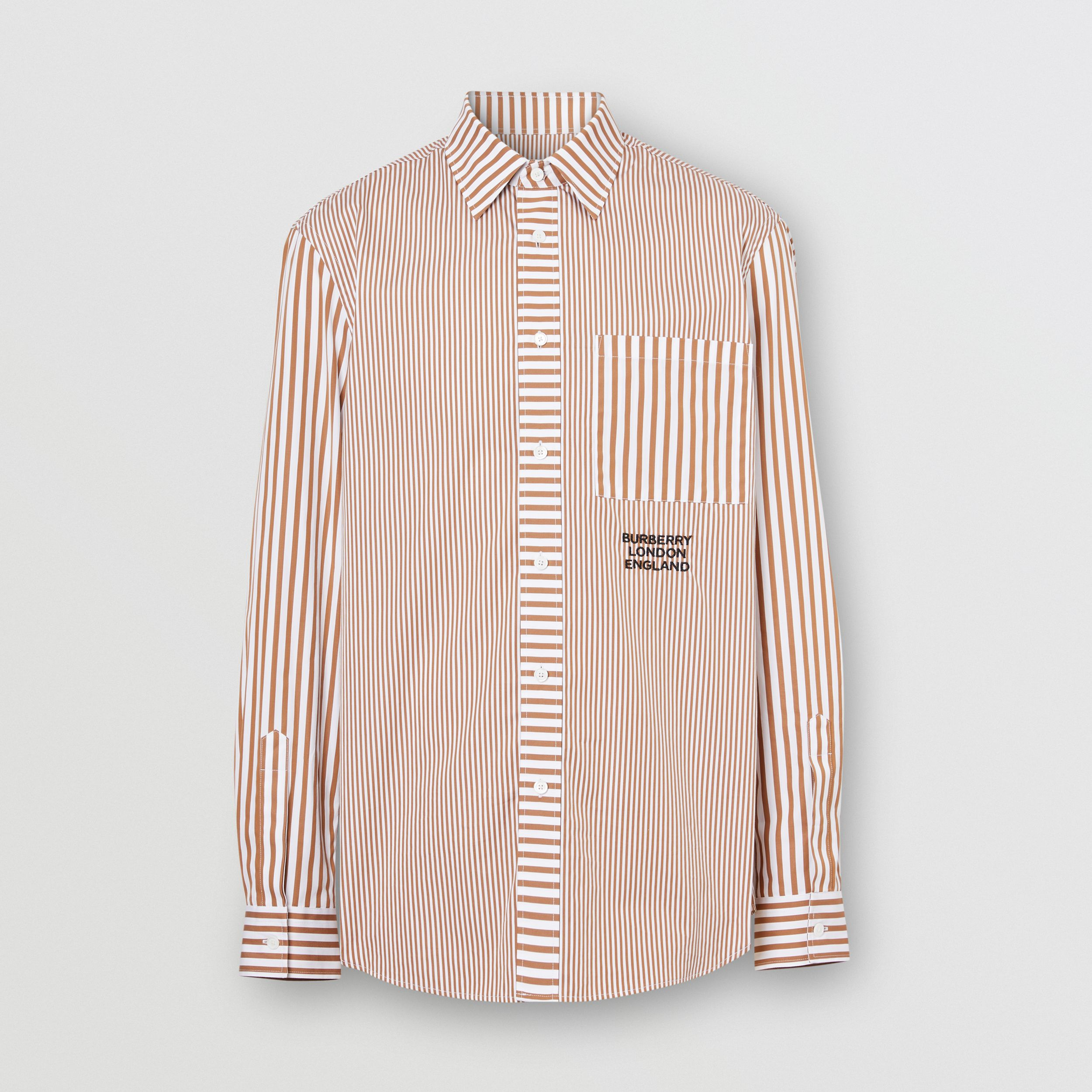 Embroidered Logo Patchwork Striped Cotton Shirt in Camel - Men | Burberry - 4