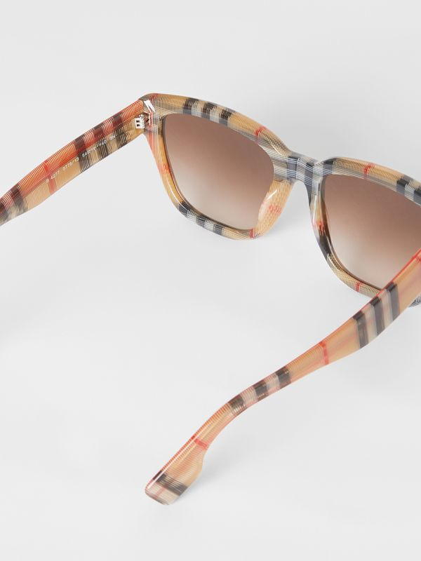Vintage Check Detail Square Frame Sunglasses in Antique Yellow - Women | Burberry - cell image 3