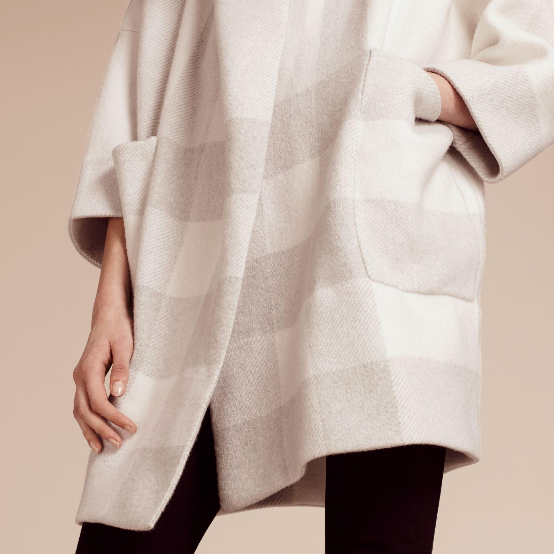 Natural white Oversize Stretch Wool Cashmere Wide Collar Coat Natural White - gallery image 5