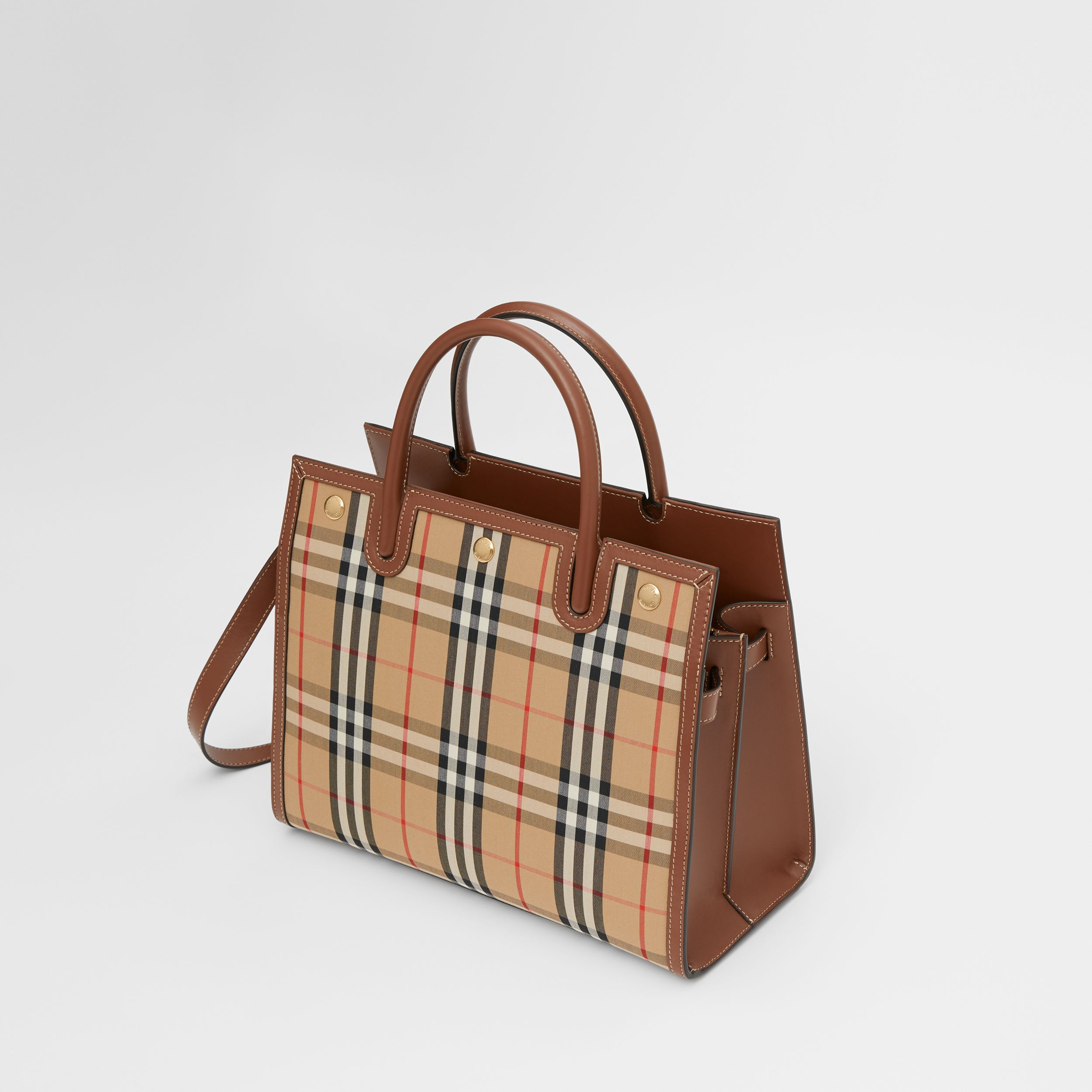 Small Vintage Check Two-handle Title Bag in Archive Beige - Women | Burberry - 4