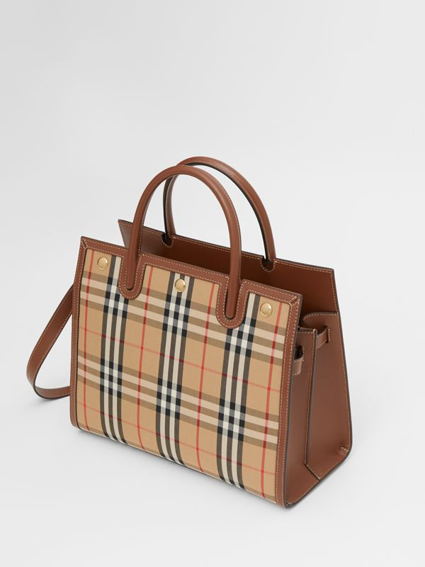 Small Vintage Check Two-handle Title Bag in Archive Beige - Women | Burberry - cell image 3