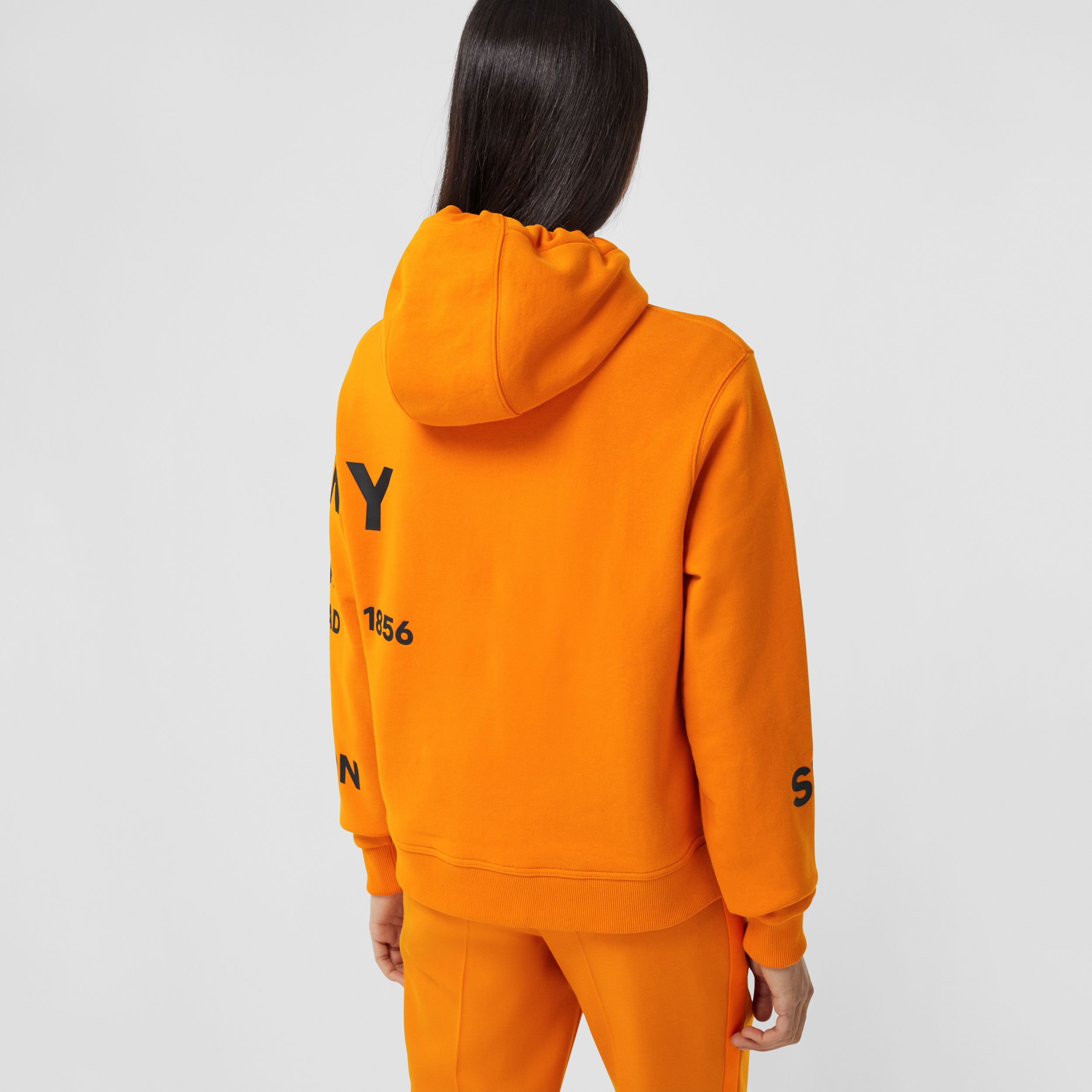 Horseferry Print Cotton Oversized Hoodie in Deep Orange - Women | Burberry United Kingdom - 3