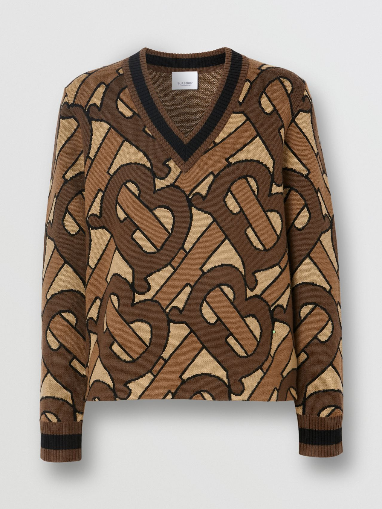 Monogram Intarsia Wool V-neck Sweater in Bridle Brown
