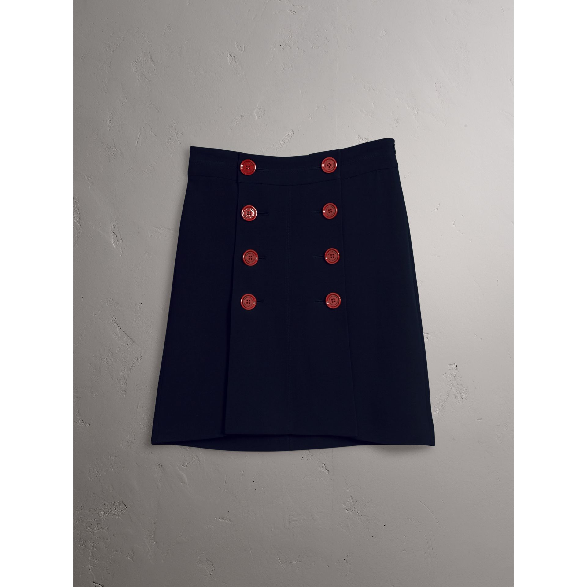 Resin Button Double-breasted Tailored Skirt in Navy - Women | Burberry Singapore - gallery image 4