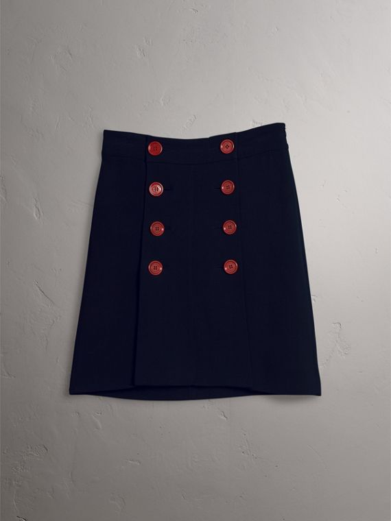 Resin Button Double-breasted Tailored Skirt in Navy - Women | Burberry Singapore - cell image 3