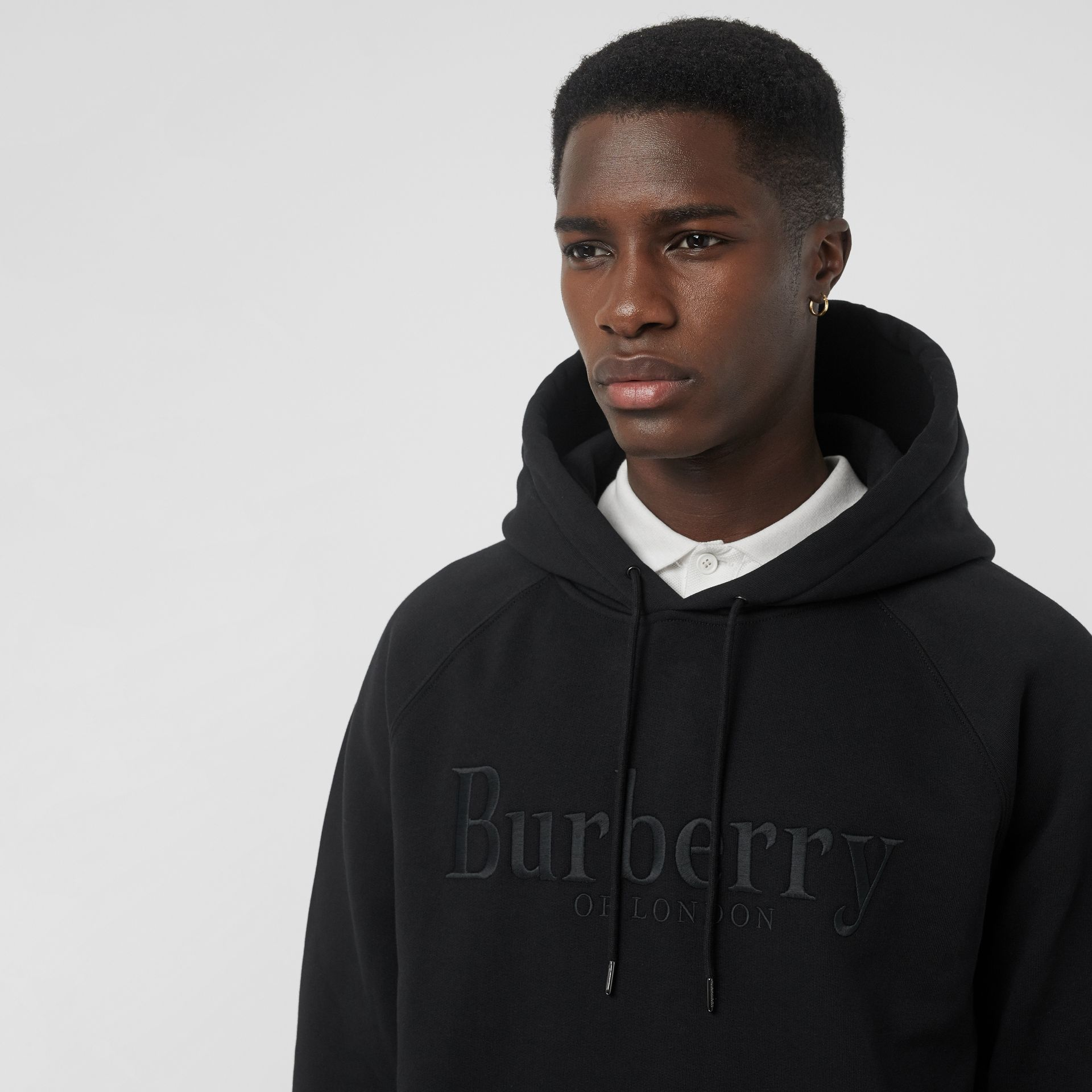 Embroidered Logo Jersey Hoodie in Black - Men | Burberry Hong Kong S.A.R - gallery image 1