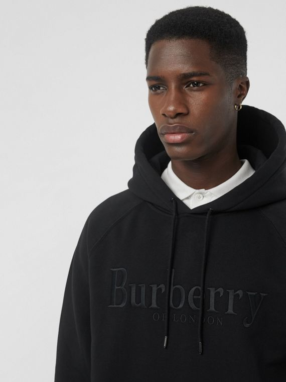 Embroidered Logo Jersey Hoodie in Black