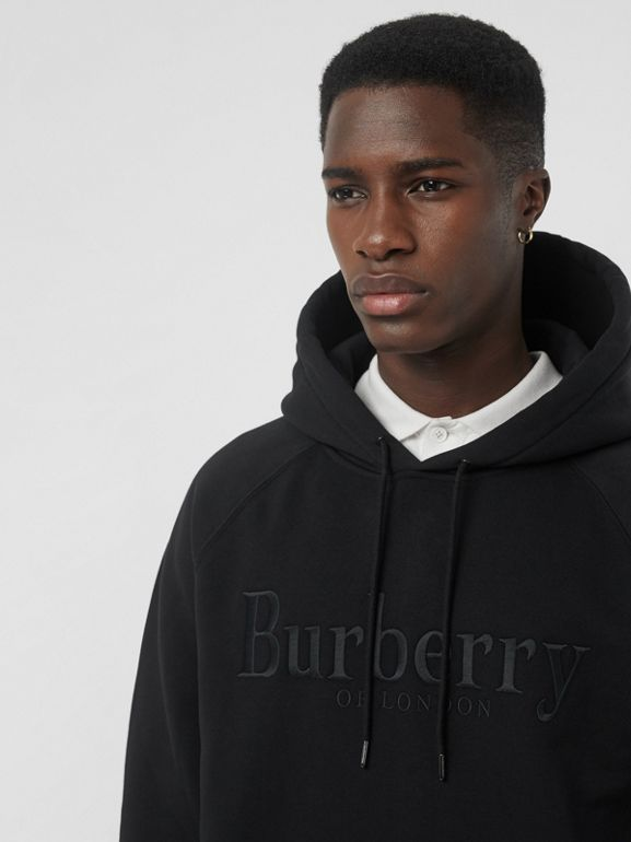 Embroidered Logo Jersey Hoodie in Black - Men | Burberry Hong Kong S.A.R - cell image 1
