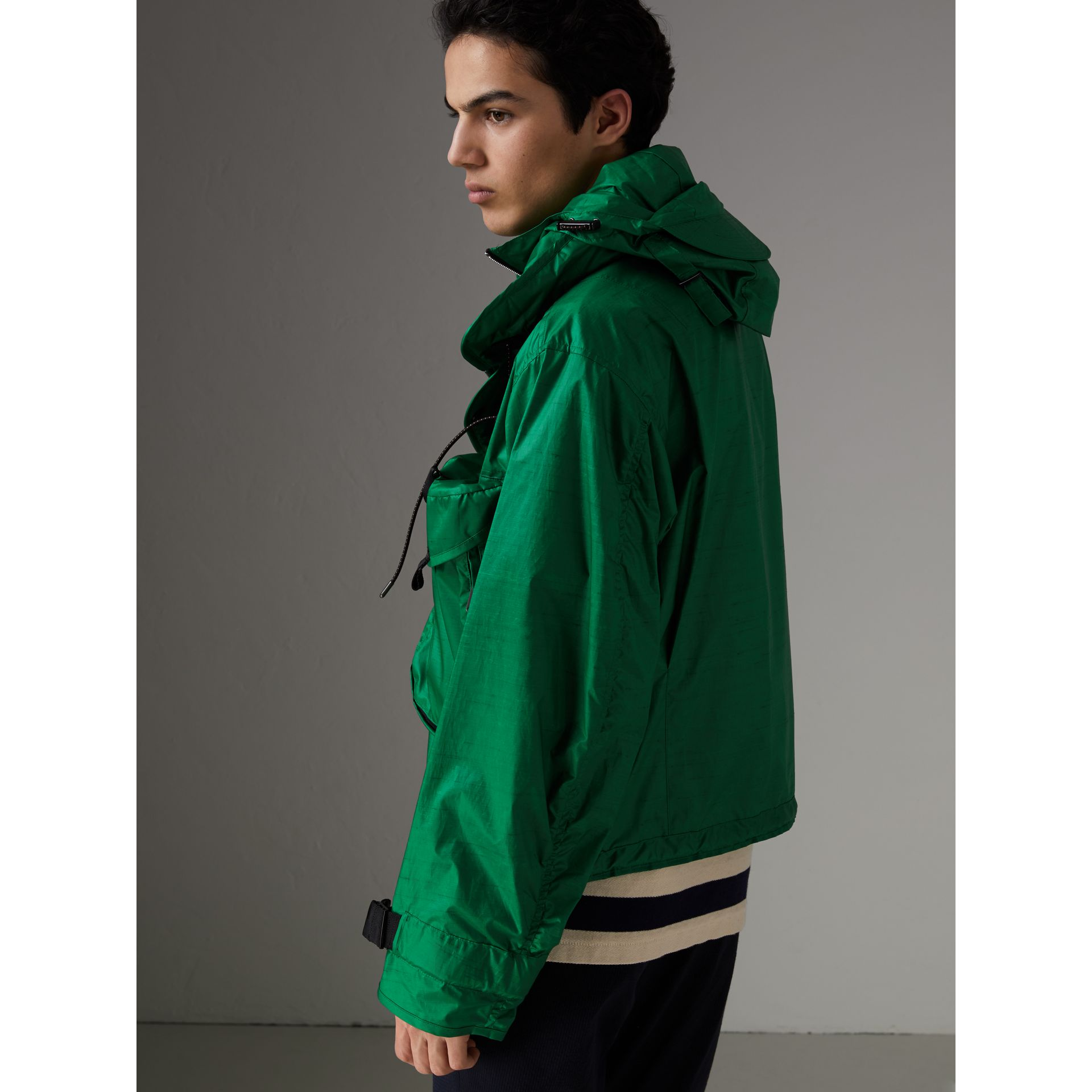 Packaway Hood Showerproof Jacket With Gilet in Vibrant Green - Men | Burberry - gallery image 2