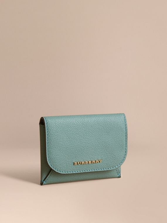 Leather Coin Case with Removable Card Compartment in Eucalyptus Green/multi - Women | Burberry