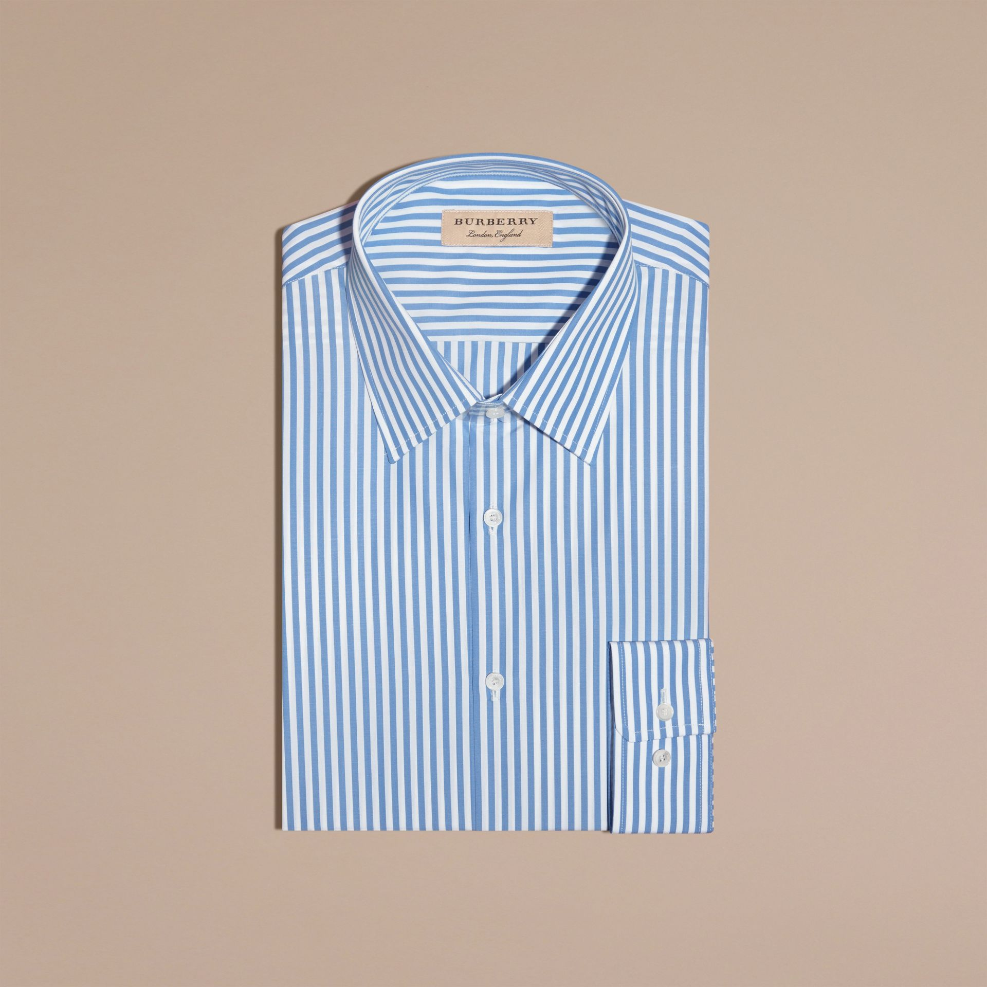 Mid blue Slim Fit Striped Cotton Poplin Shirt Mid Blue - gallery image 6