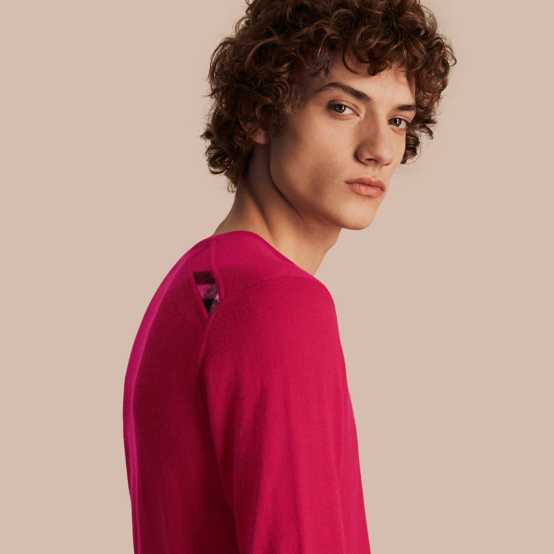 Bright pink Lightweight Crew Neck Cashmere Sweater with Check Trim Bright Pink - gallery image 1