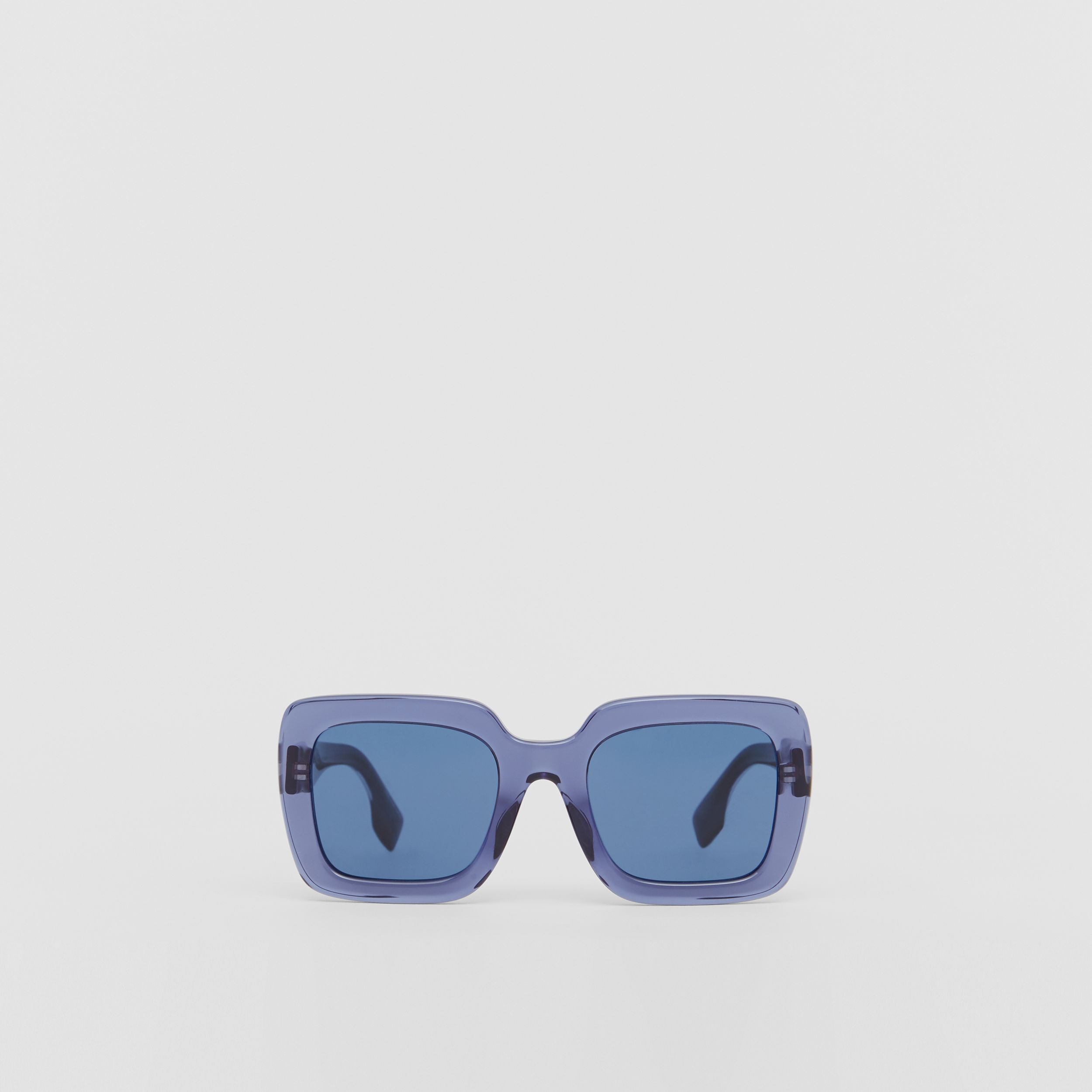 Oversized Square Frame Sunglasses in Blue - Women | Burberry - 1