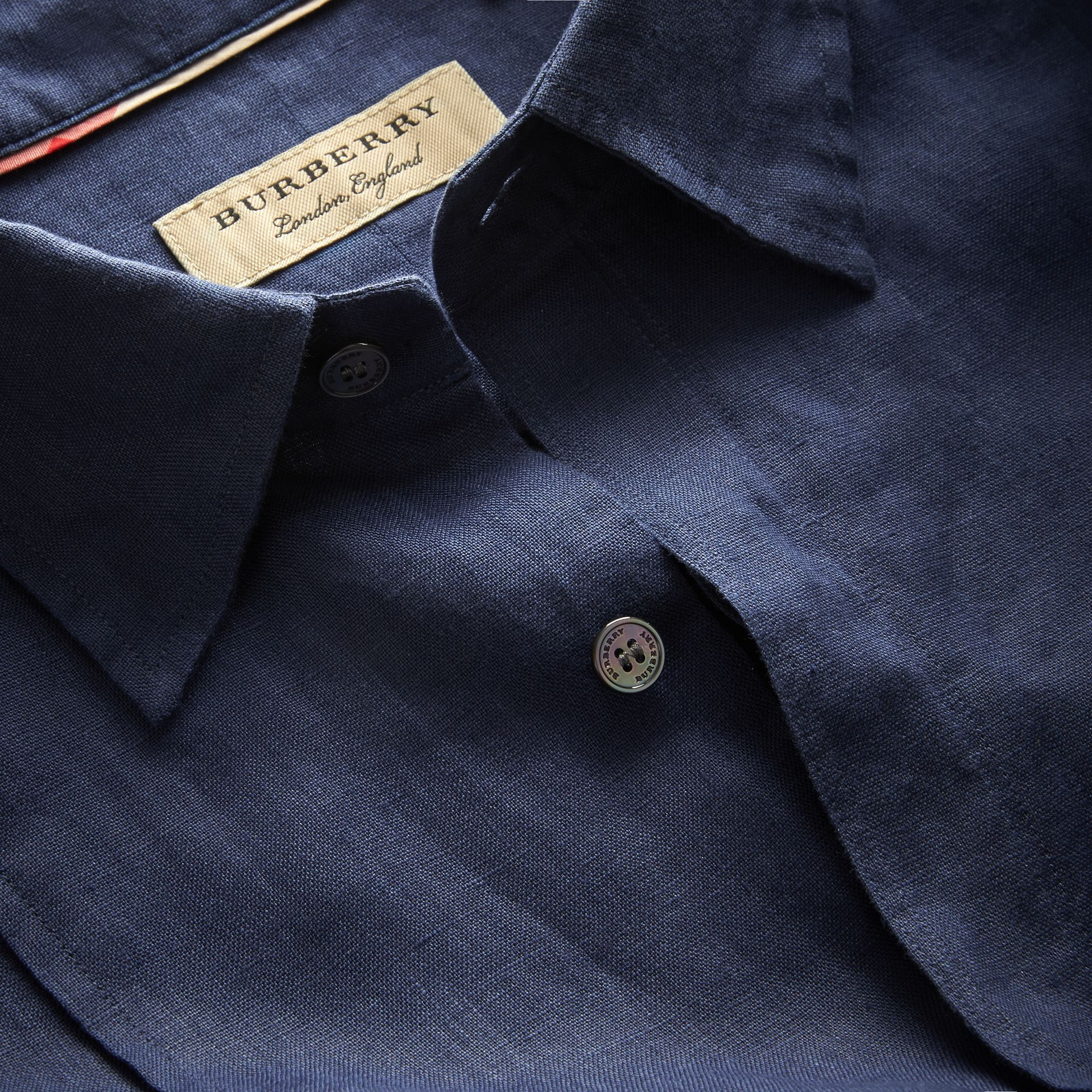 Bib Detail Linen Tunic Shirt in Navy - Men | Burberry Hong Kong - gallery image 2