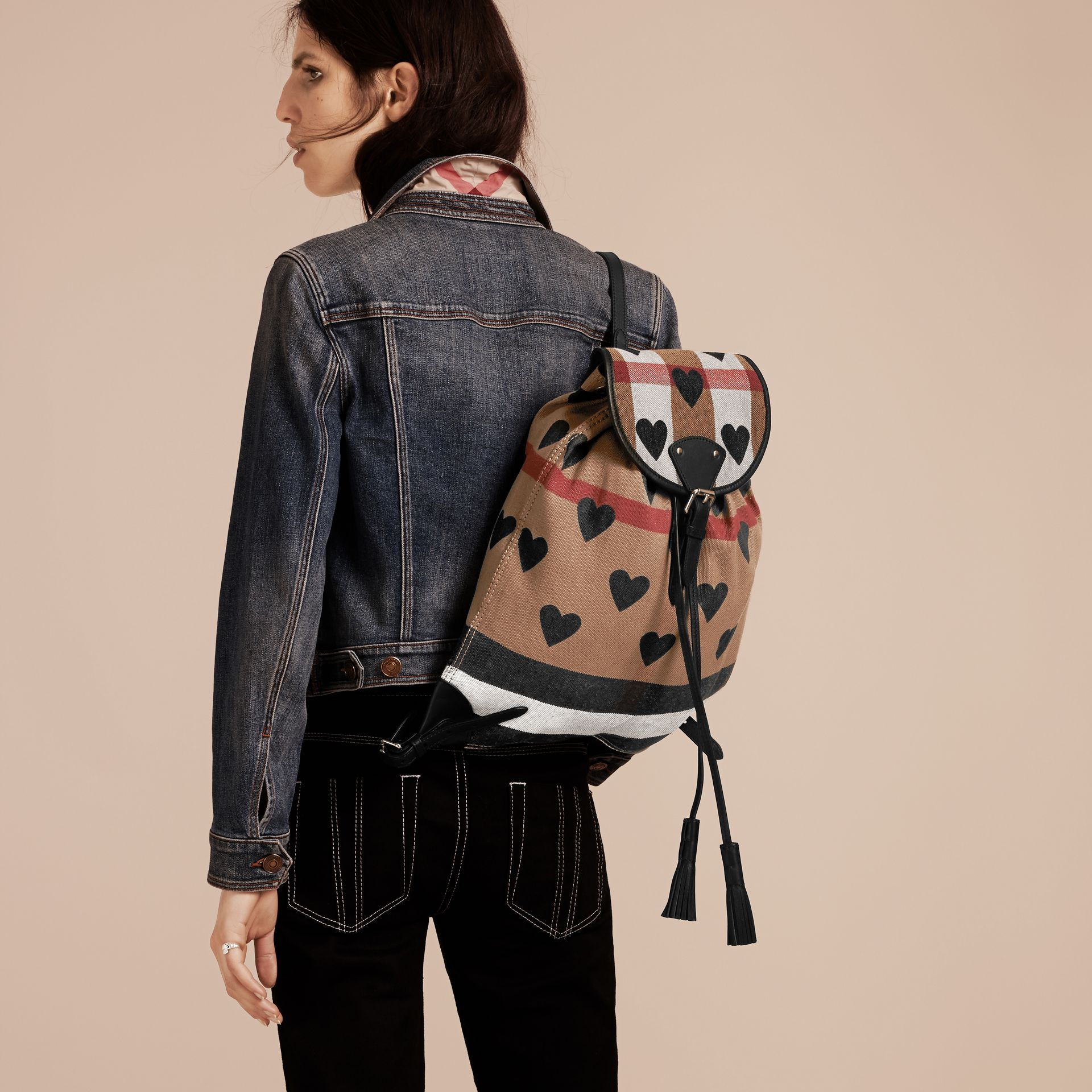 Black Heart Print Canvas Check Backpack with Leather Trim Black - gallery image 3