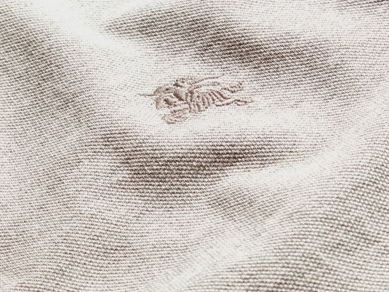 Mezcla de gris pálido Polo de manga larga con tira de botones a checks Mezcla  Gris Pálido - cell image 1