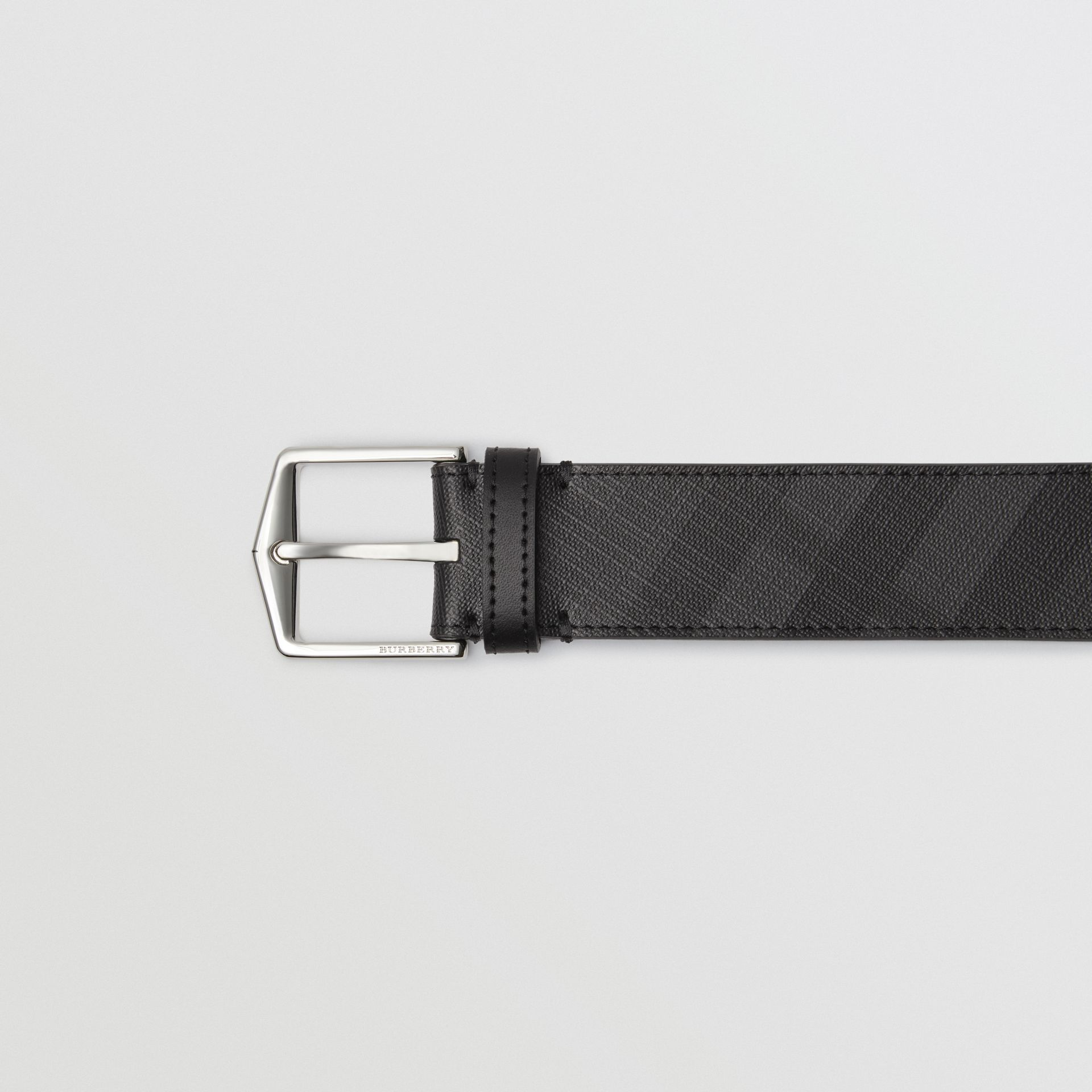 Leather Trim London Check Belt in Charcoal/black - Men | Burberry United Kingdom - gallery image 1