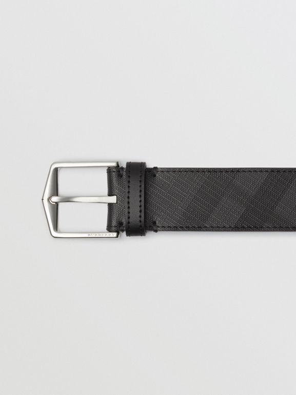Leather Trim London Check Belt in Charcoal/black - Men | Burberry United Kingdom - cell image 1