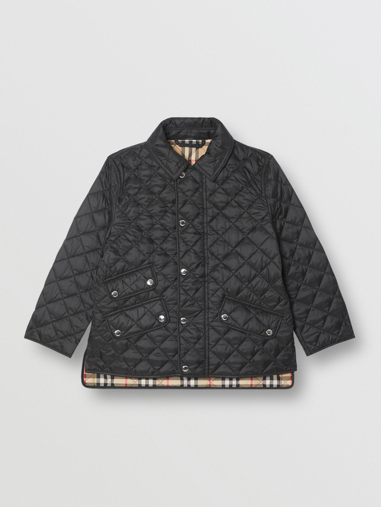 Lightweight Diamond Quilted Jacket in Black
