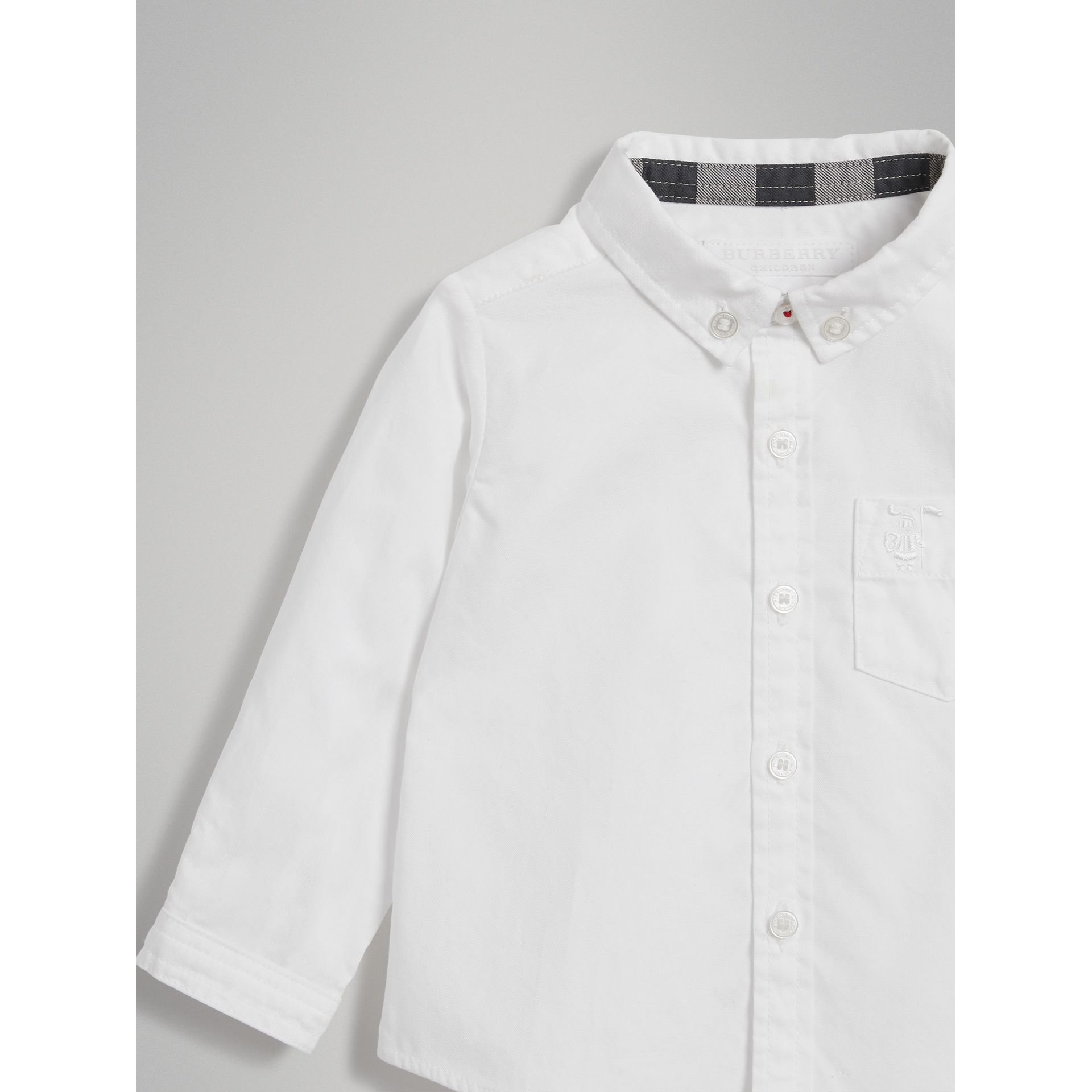 Cotton Oxford Shirt in White - Boy | Burberry Australia - gallery image 4