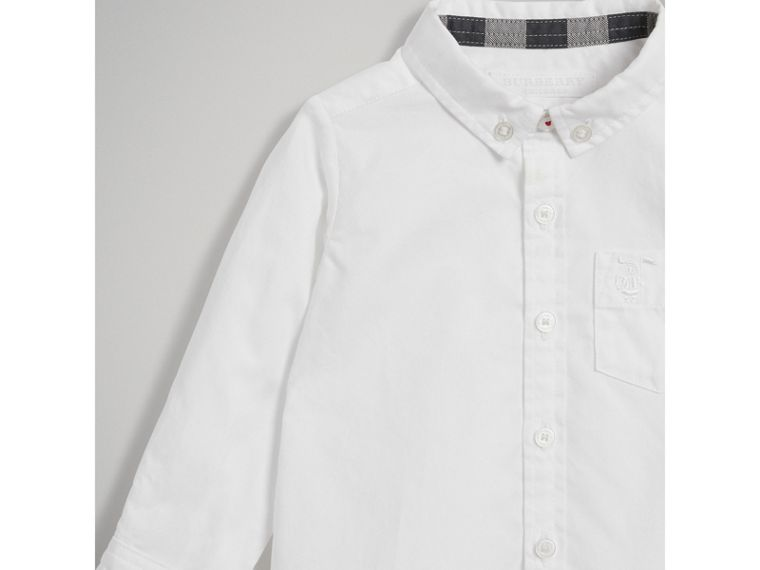 Cotton Oxford Shirt in White - Boy | Burberry - cell image 4