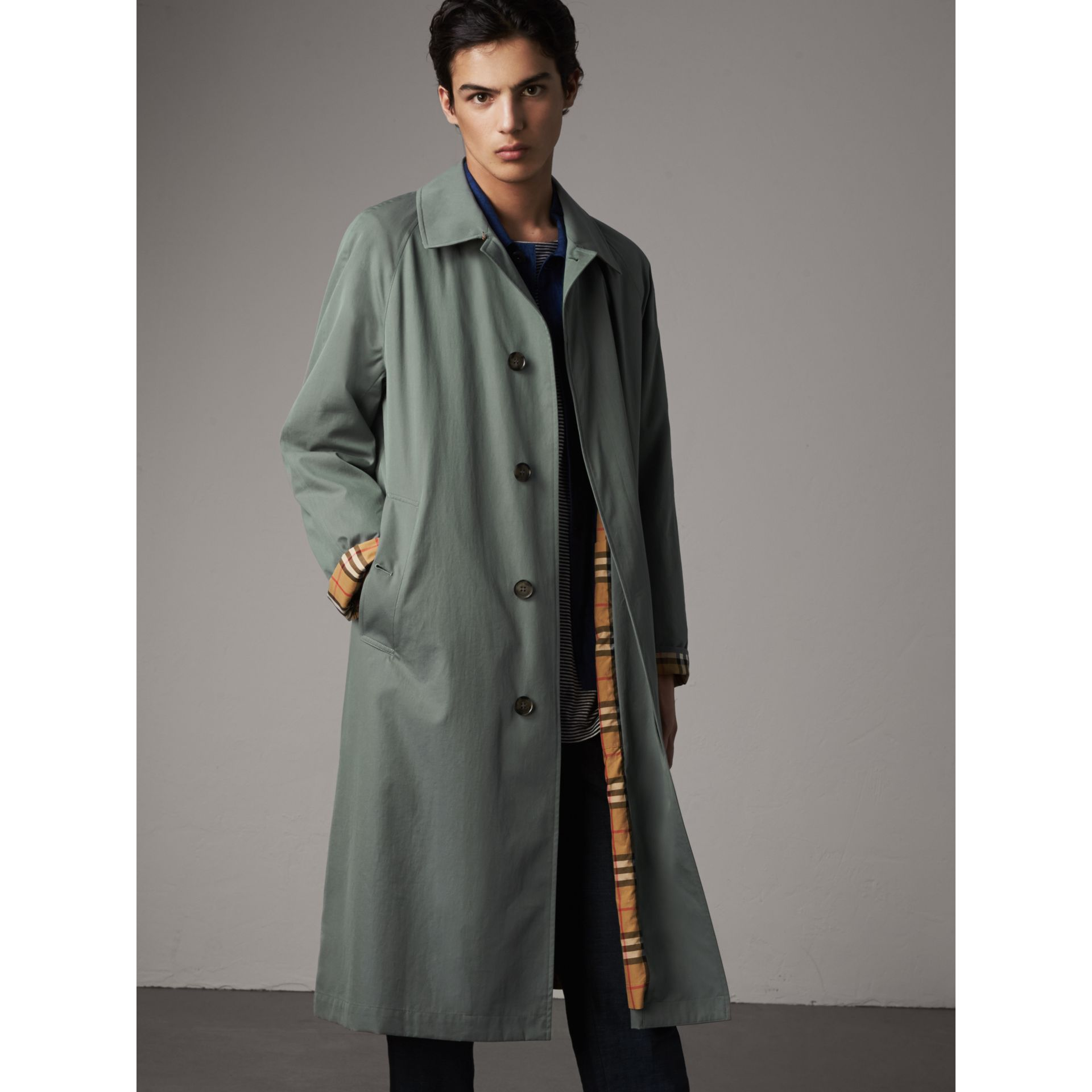 The Brighton – Extra-long Car Coat in Dusty Blue - Men | Burberry - gallery image 6