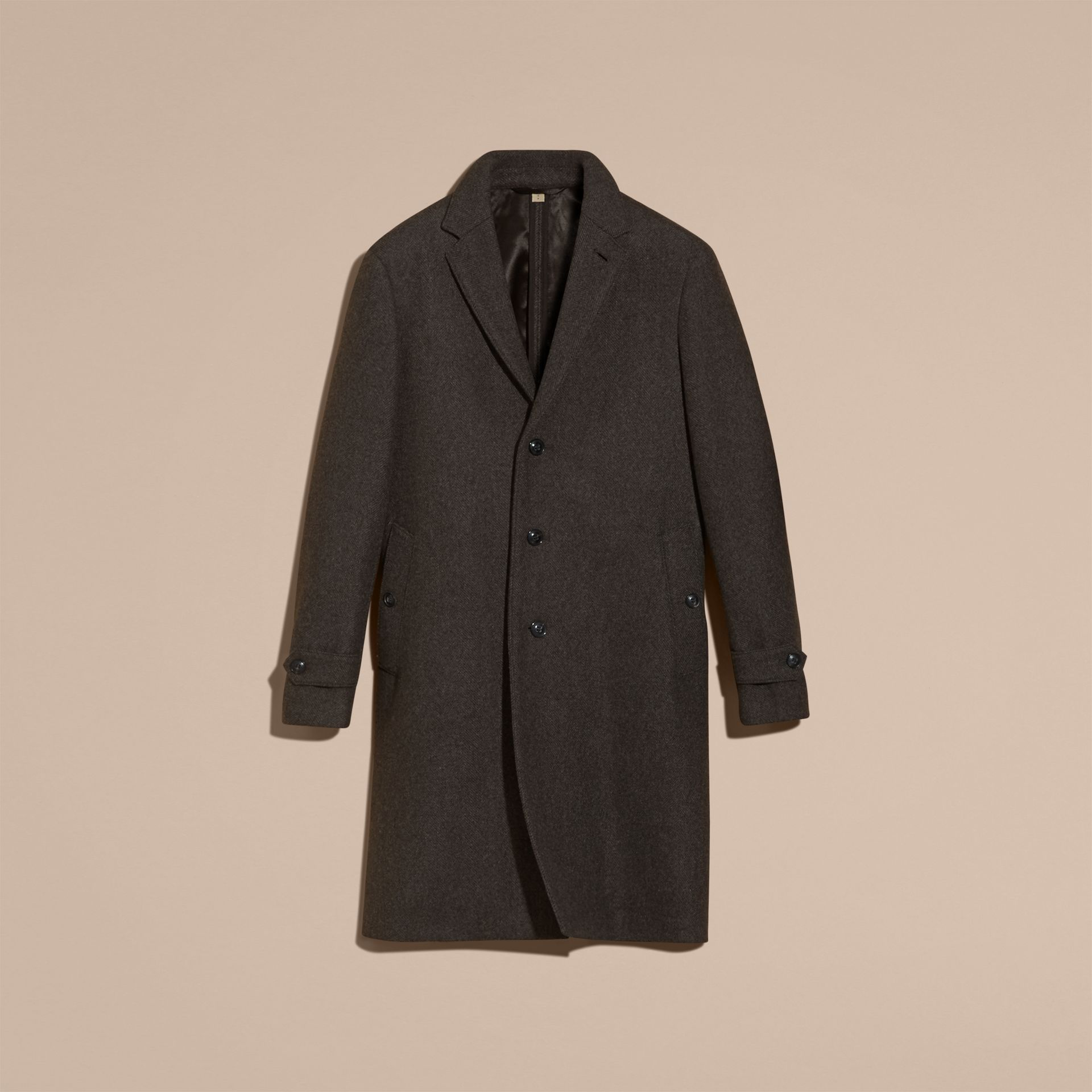 Charcoal melange Single-breasted Wool Blend Tailored Coat - gallery image 4