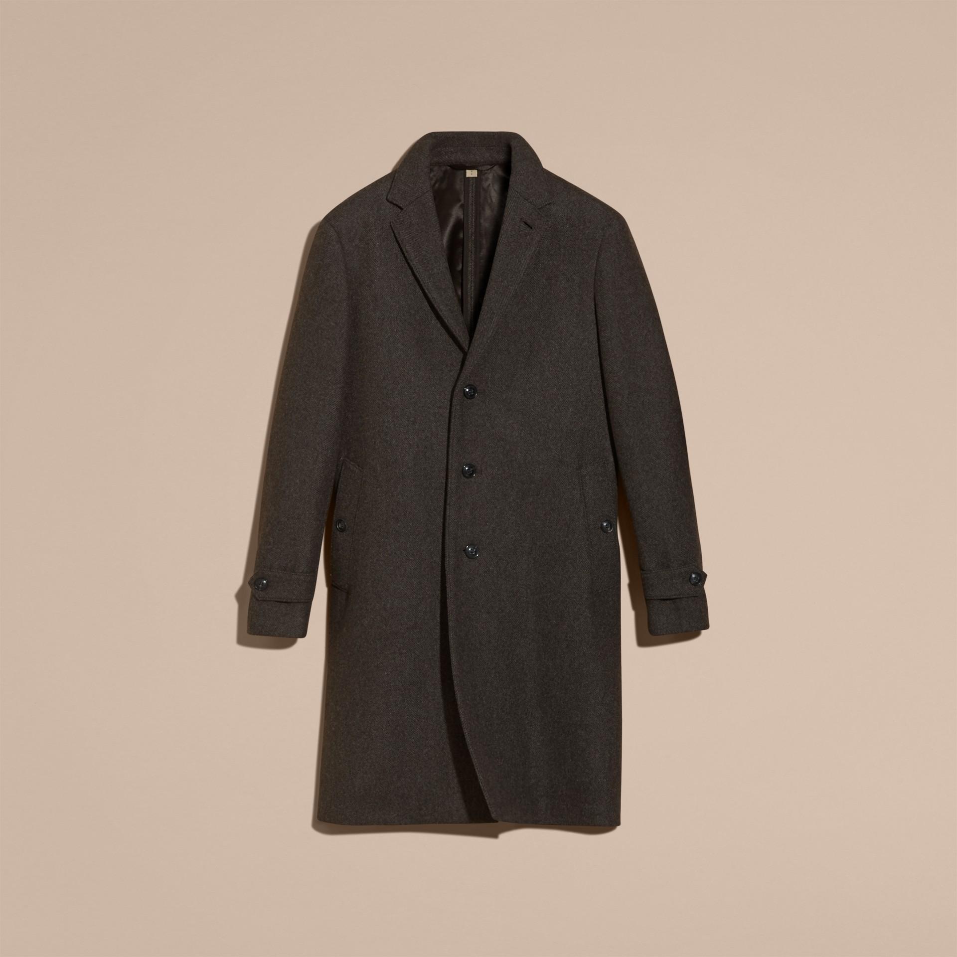 Camaïeu anthracite Manteau ajusté à boutonnage simple en laine mélangée - photo de la galerie 4