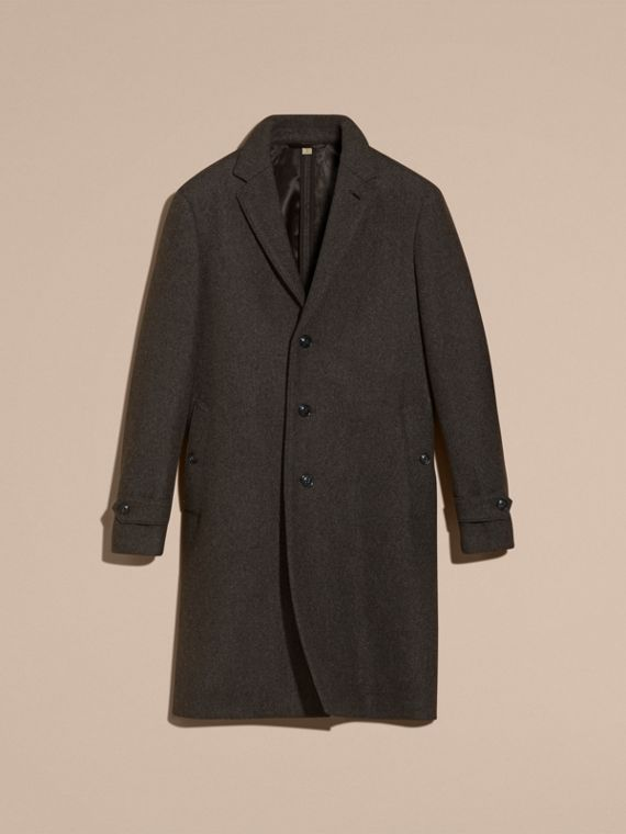 Charcoal melange Single-breasted Wool Blend Tailored Coat - cell image 3
