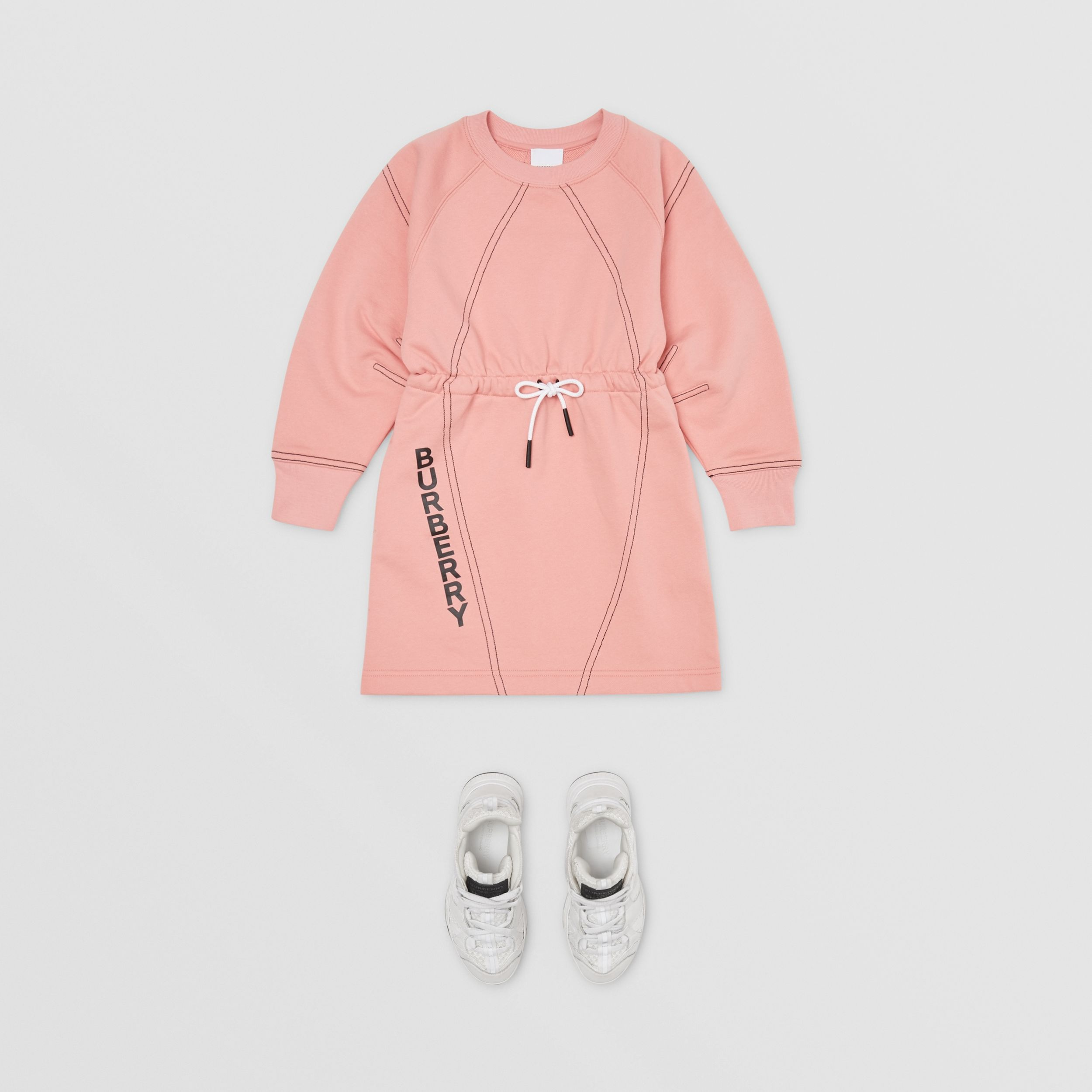 Logo Print Cotton Sweater Dress in Peach | Burberry - 3