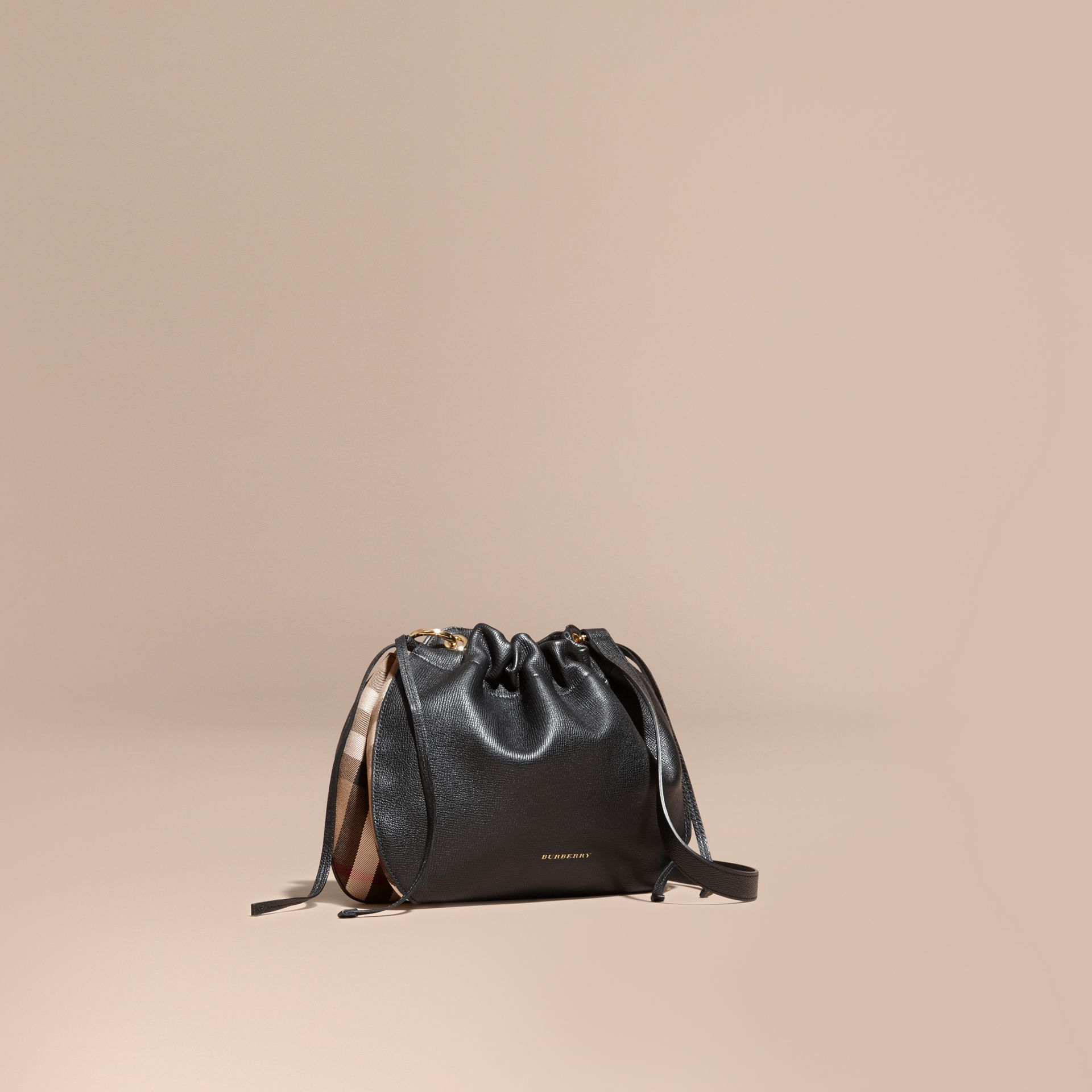 Black Grainy Leather and House Check Crossbody Bag Black - gallery image 1