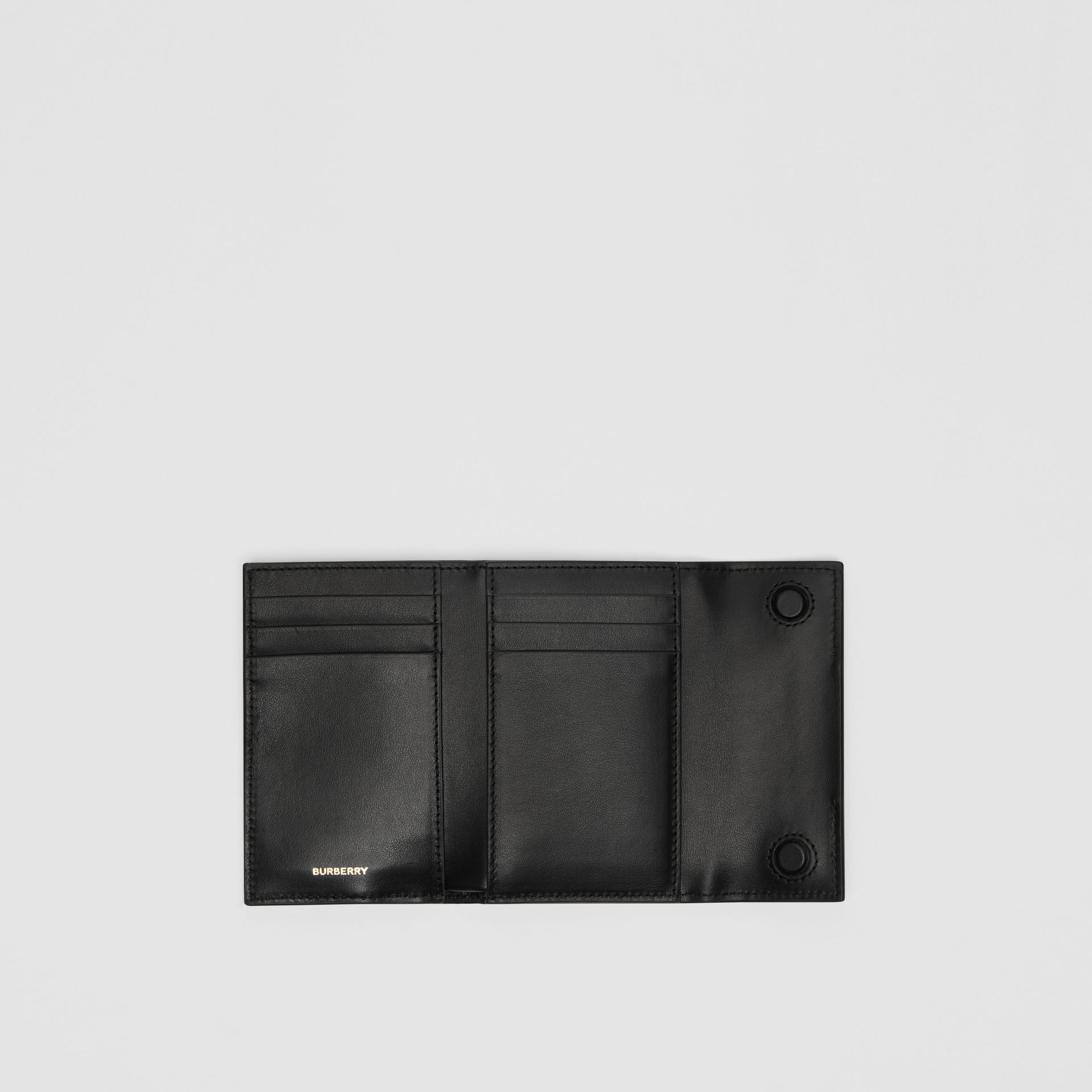 Horseferry Print Leather Folding Wallet in Black | Burberry - gallery image 2
