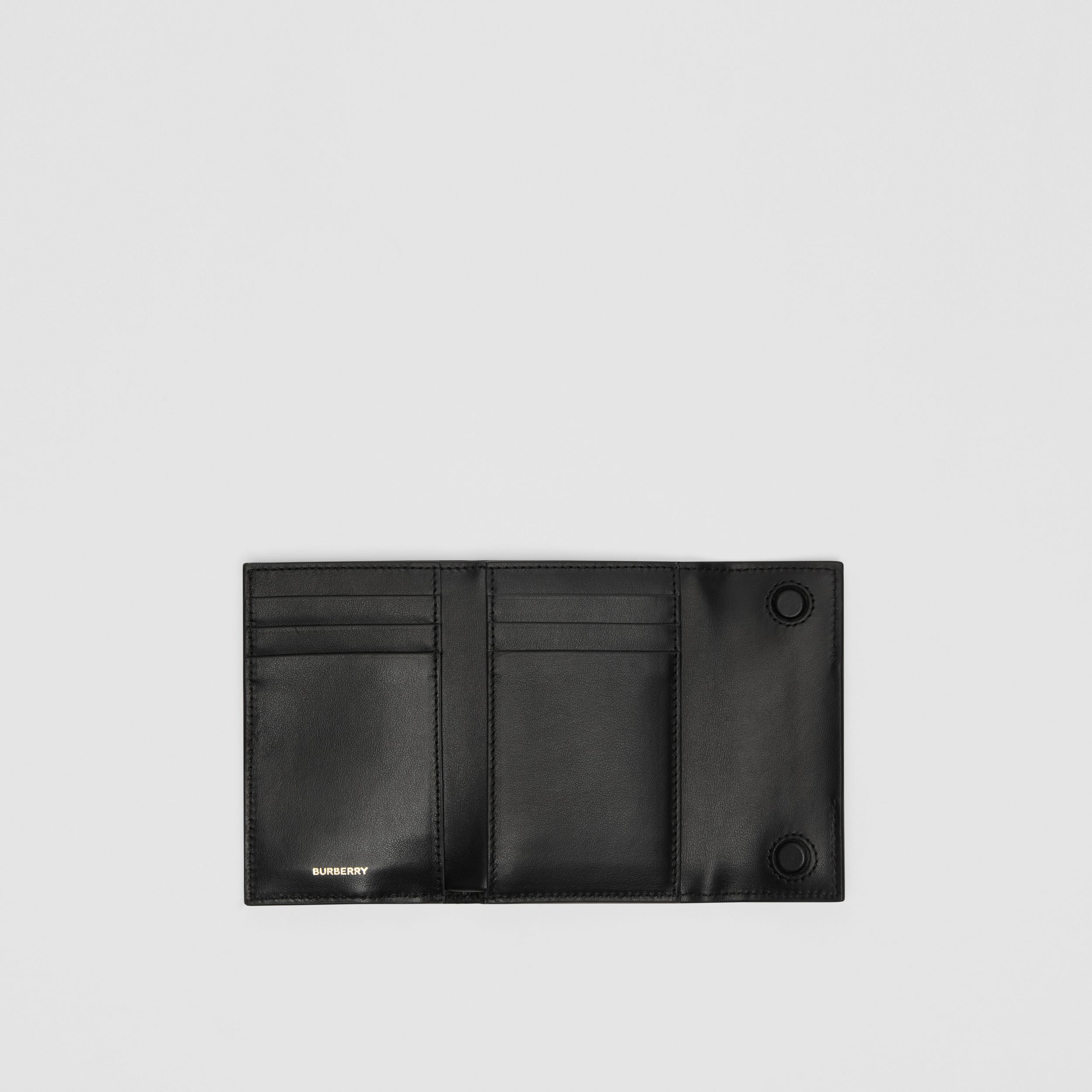 Horseferry Print Leather Folding Wallet in Black | Burberry - 3