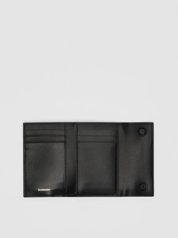 Horseferry Print Leather Folding Wallet in Black - Women | Burberry - cell image 2