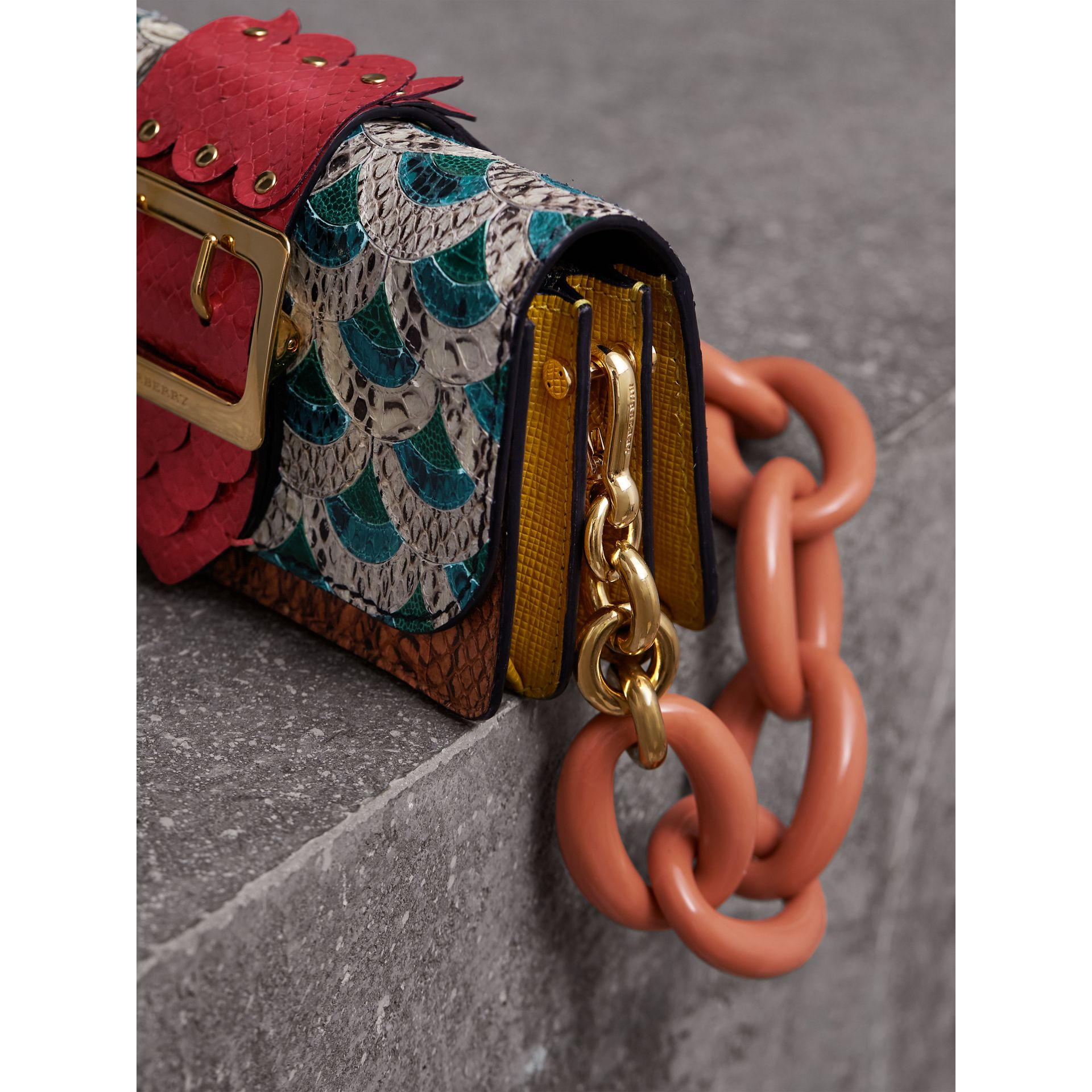 The Small Buckle Bag in Scallop Trim Snakeskin and Ostrich - Women | Burberry - gallery image 7