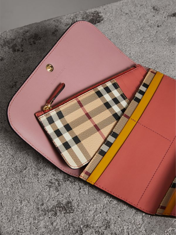 Two-tone Leather Continental Wallet and Coin Case in Cinnamon Red/multi - Women | Burberry - cell image 3