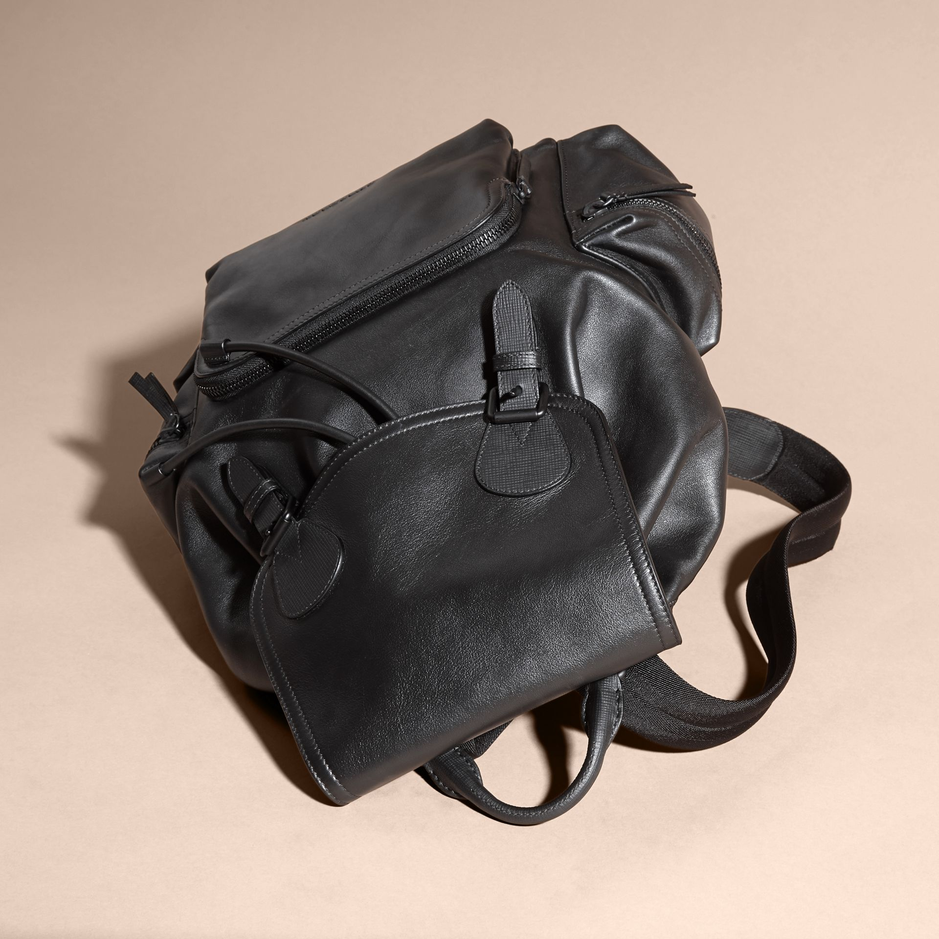 Black The Large Rucksack in Water-repellent Leather Black - gallery image 7