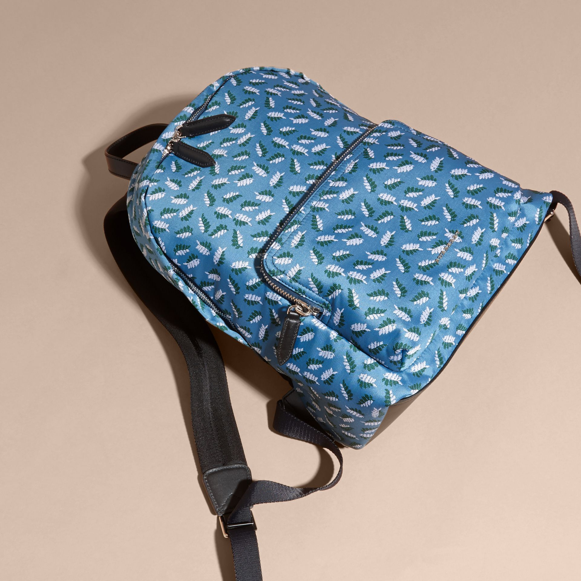 Deep cerulean blue leaf Leaf Jacquard Backpack - gallery image 7