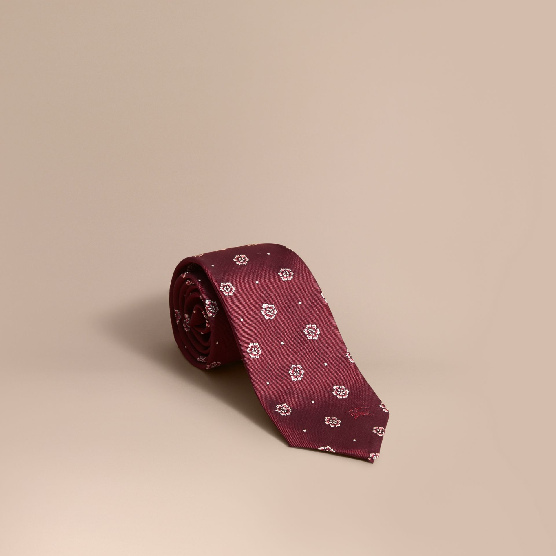 Modern Cut Floral and Spot Jacquard Silk Tie Deep Claret - gallery image 1