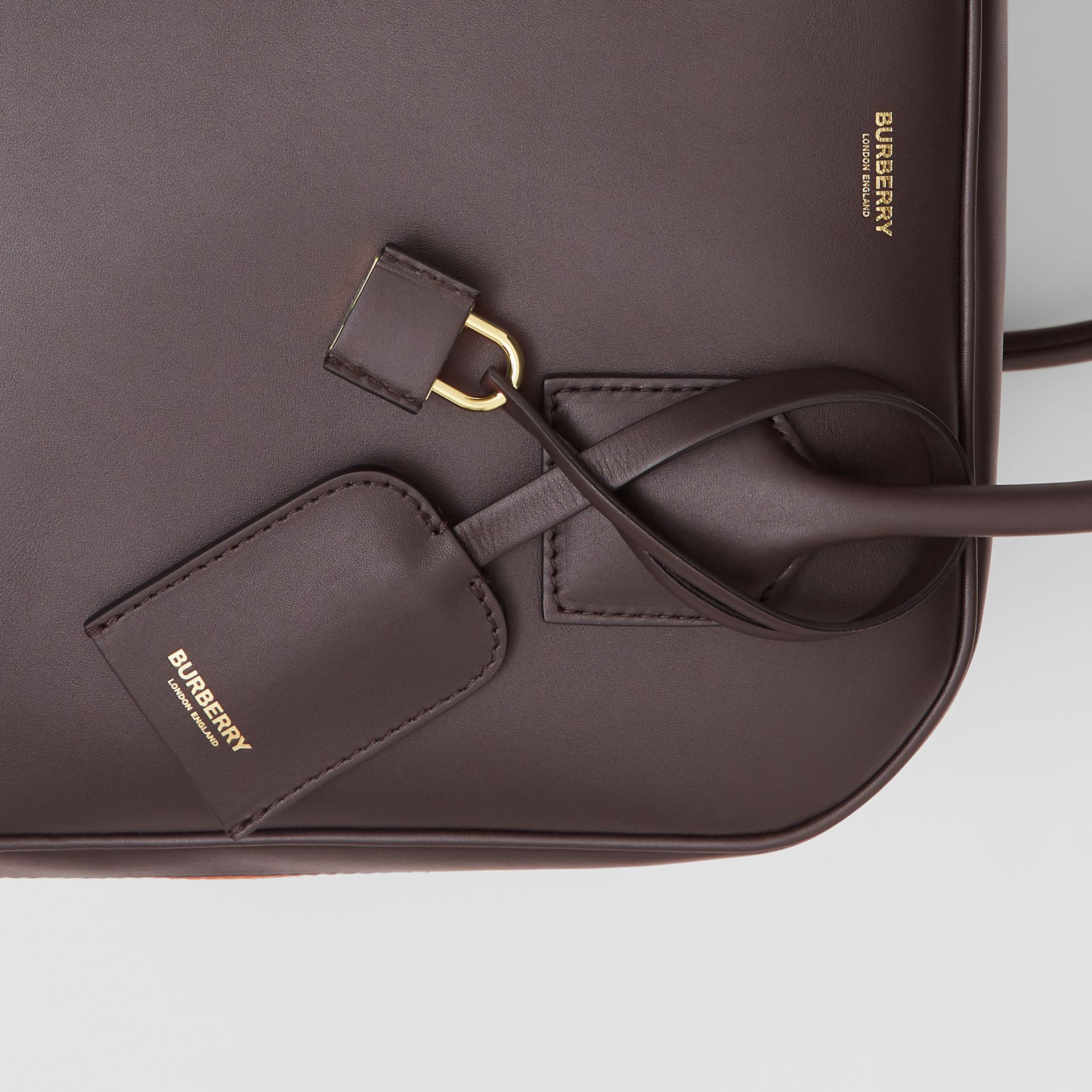 Medium Stripe Intarsia Leather Cube Bag in Coffee/pumpkin - Women | Burberry Canada - gallery image 8