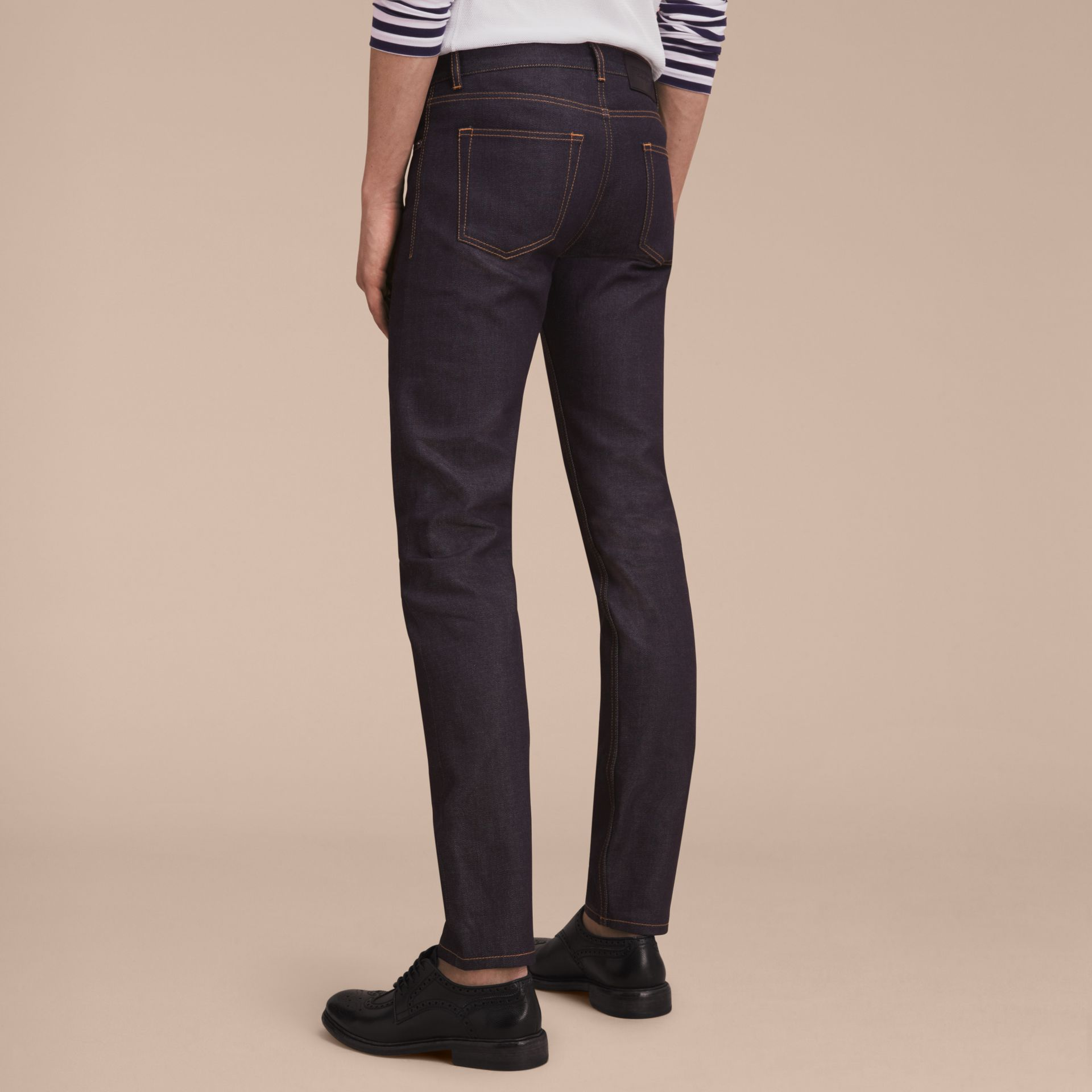 Slim Fit Raw Indigo Denim Jeans - Men | Burberry United Kingdom - gallery image 2