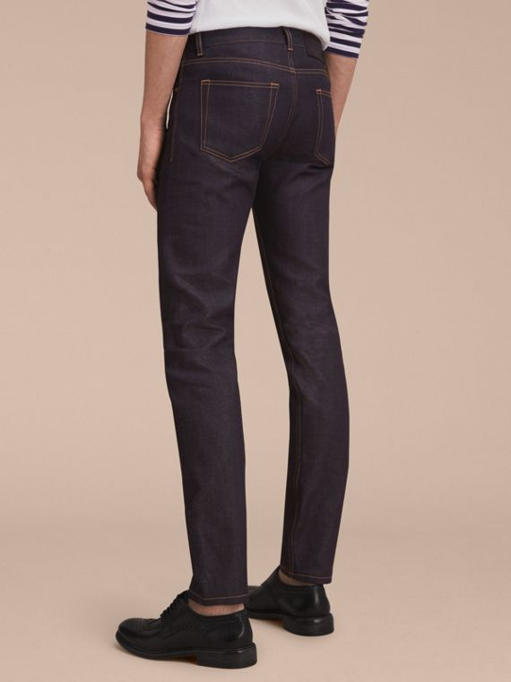Slim Fit Raw Indigo Denim Jeans - Men | Burberry - cell image 2